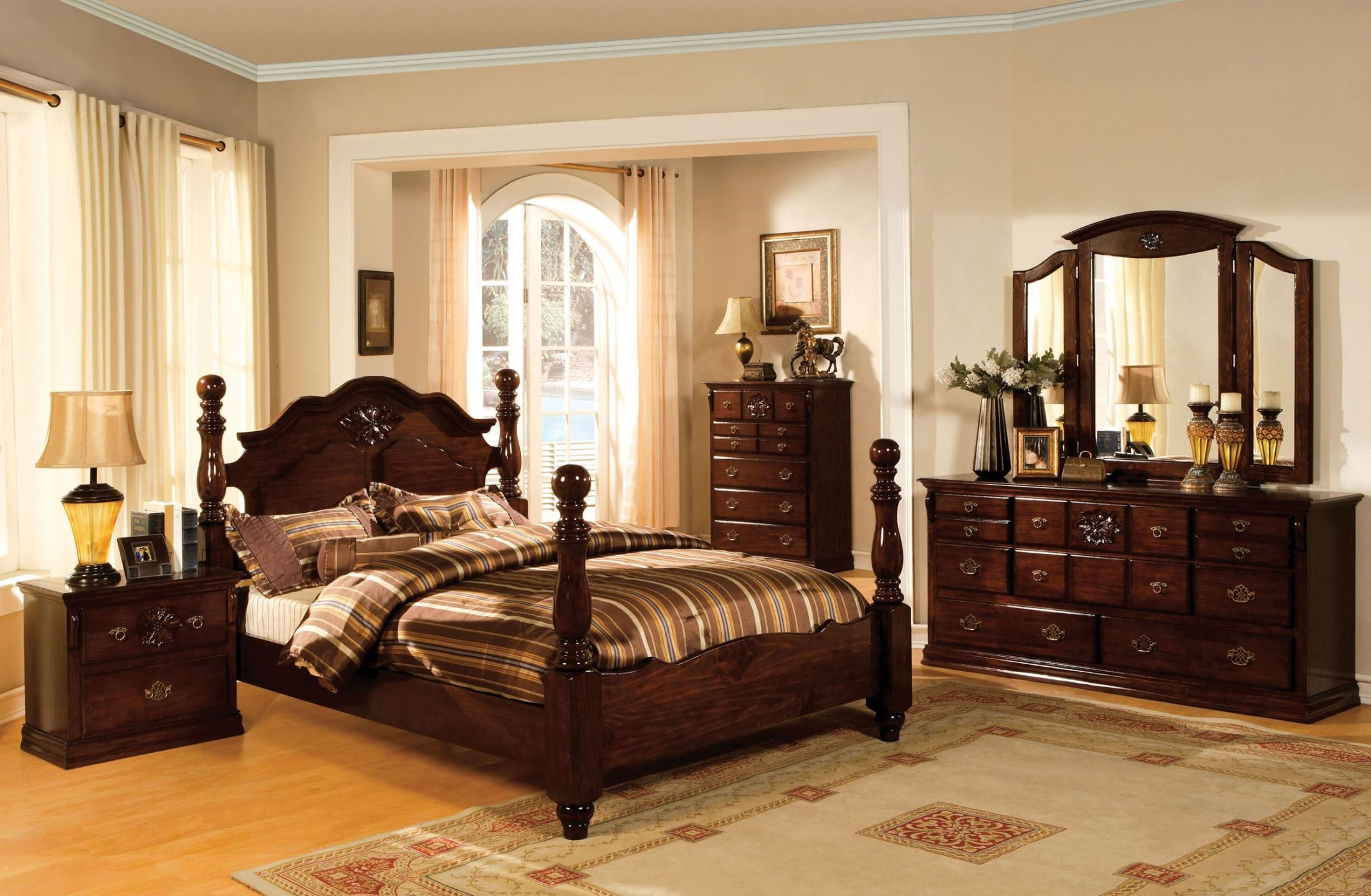 Tuscan ii glossy dark pine poster bedroom set from for M bedroom furniture