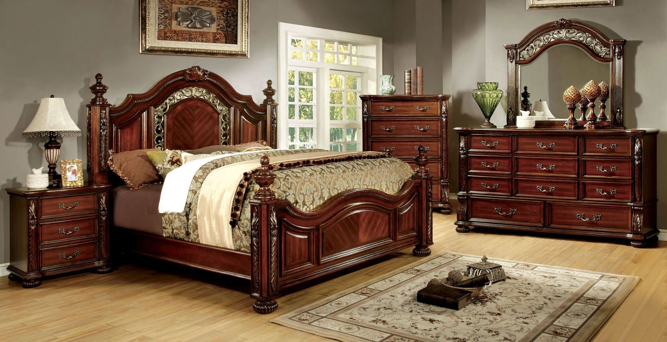 Arthur Brown Cherry King Poster Bed From Furniture Of America