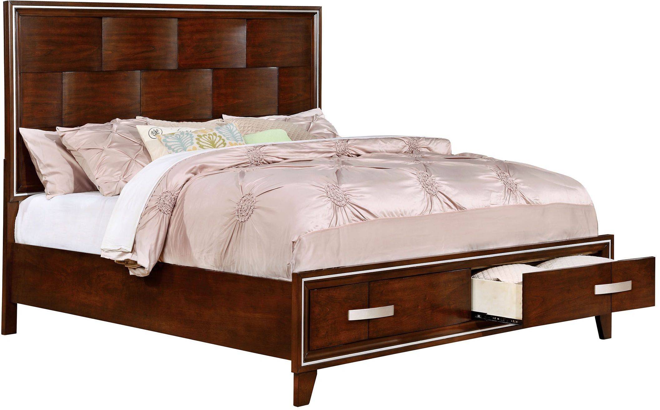 safire brown cherry cal king platform storage bed cm7616ck bed furniture of america. Black Bedroom Furniture Sets. Home Design Ideas