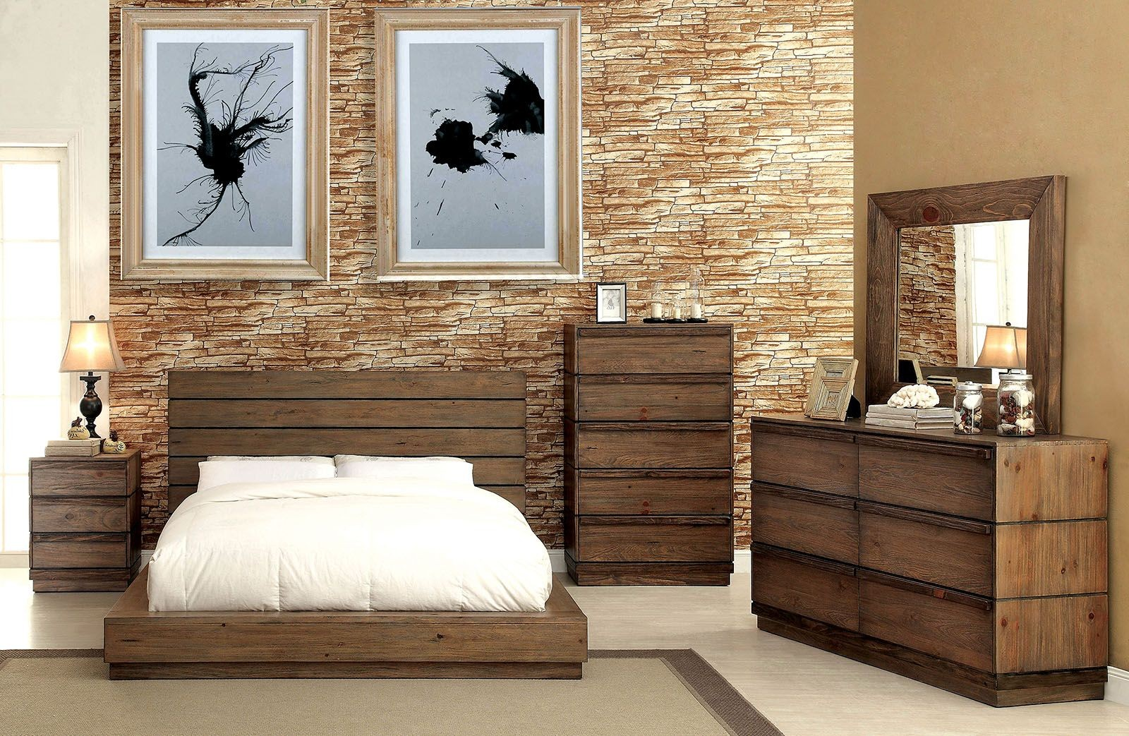 Coimbra Rustic Natural Bedroom Set CM7623Q Furniture of America