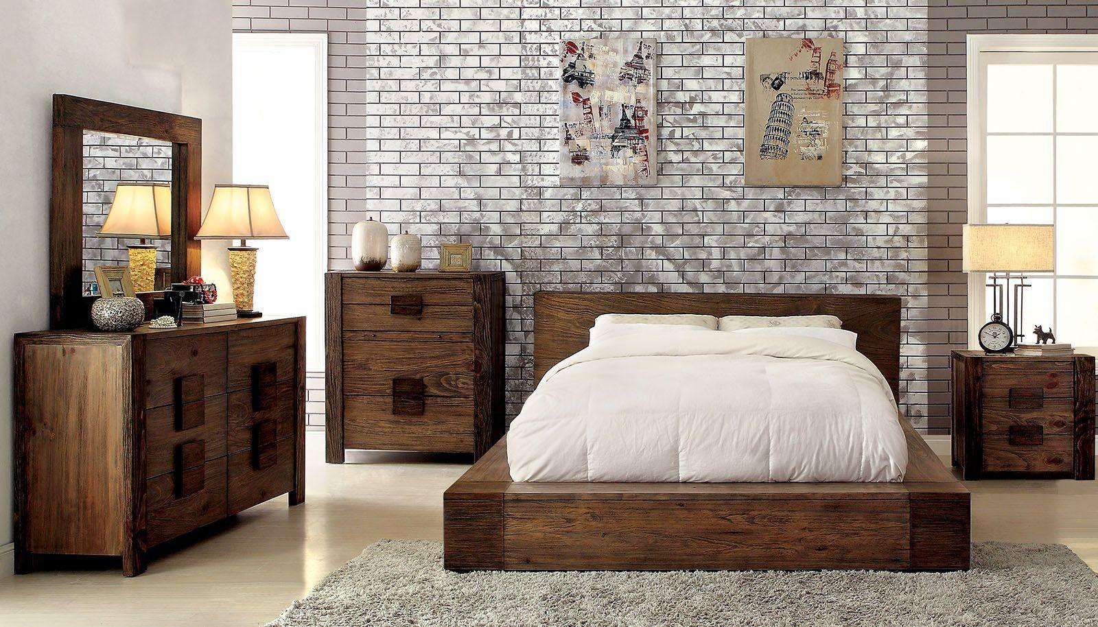Janeiro Rustic Natural Bedroom Set CM7628Q Furniture of America
