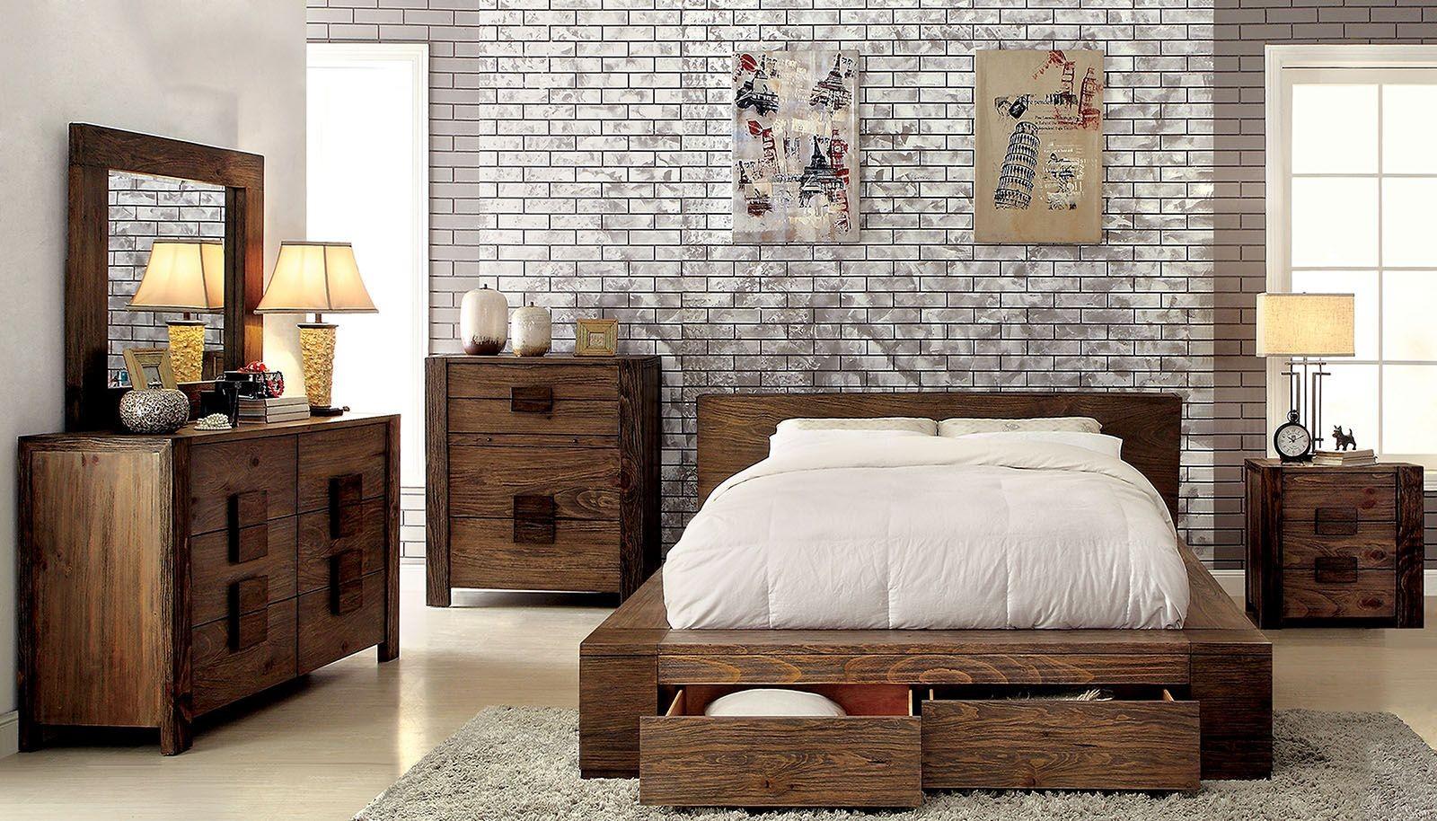 Janeiro rustic natural storage bedroom set cm q