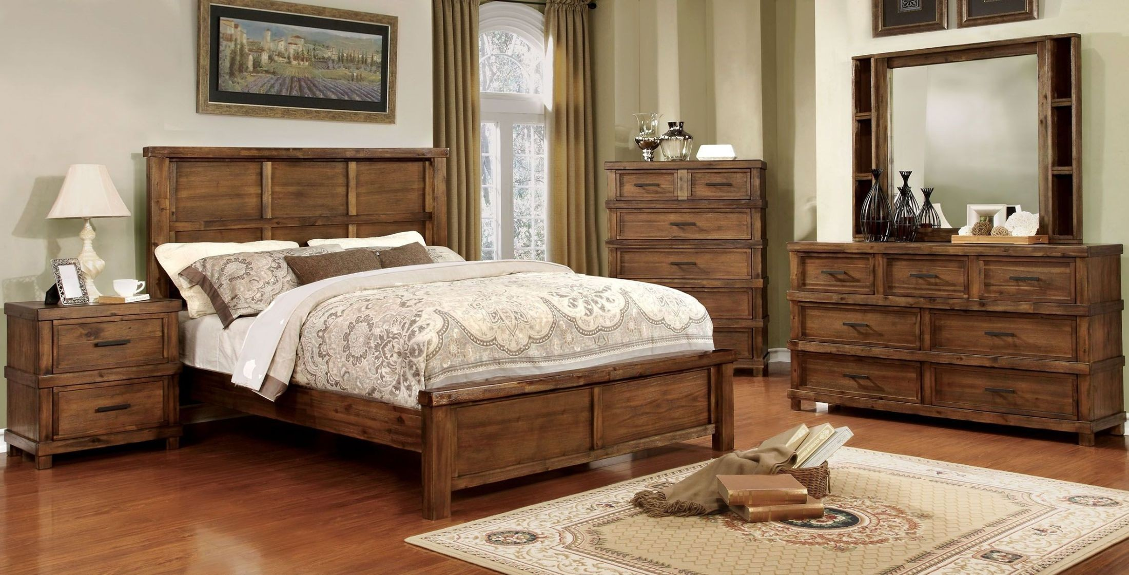 baddock antique oak panel bedroom set cm7691q furniture of america