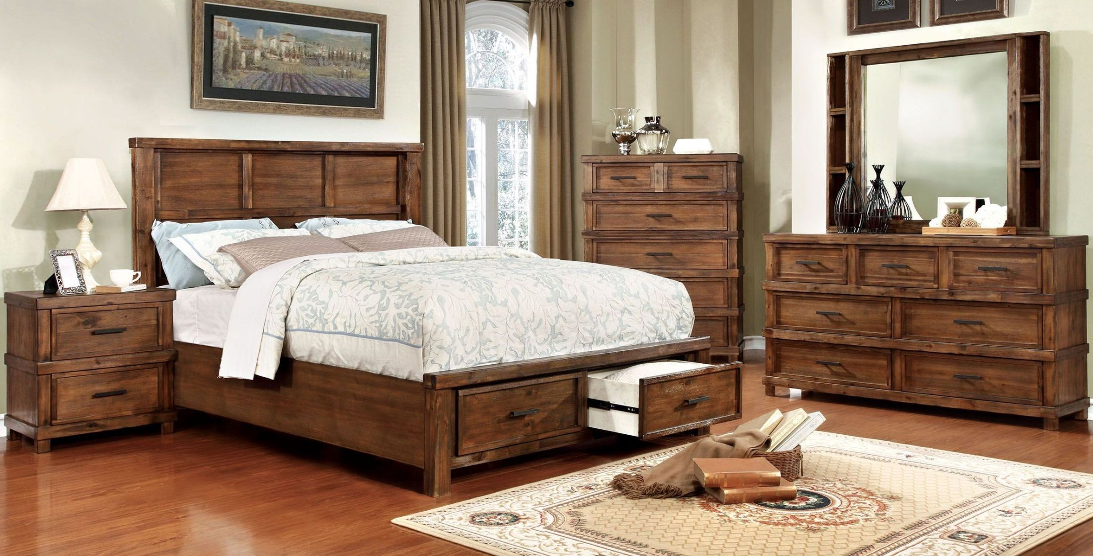 baddock antique oak panel storage bedroom set  cm7692q Wall Panel Bedroom Set Upholstery Panel Bedroom Sets