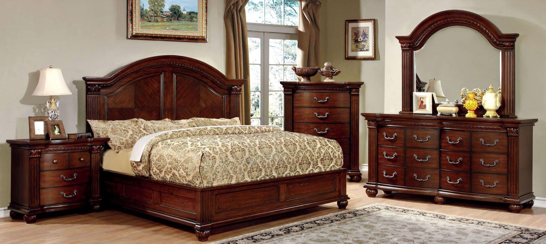 Grandom cherry bedroom set from furniture of america for Cherry bedroom furniture