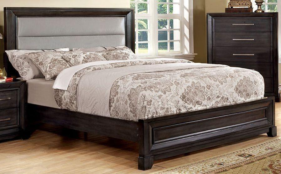 Gray upholstered bedroom set : Bradley dark gray upholstered bedroom set cm q