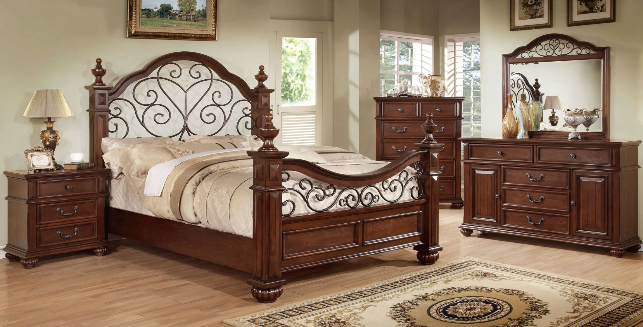 landaluce antique dark oak poster bedroom set from furniture of