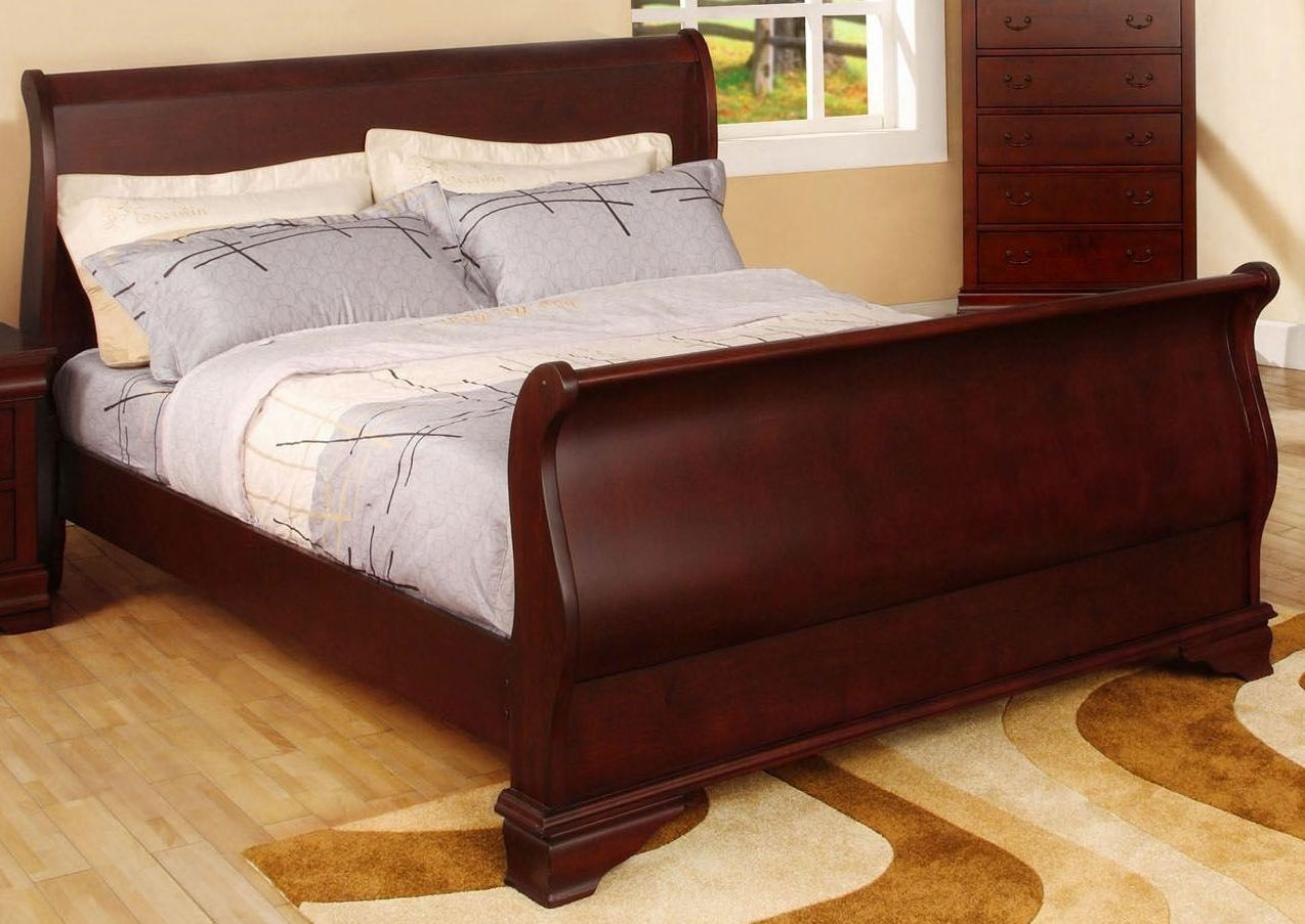 Laurelle Cherry Cal King Sleigh Bed From Furniture Of America Cm7815ck Bed Coleman Furniture