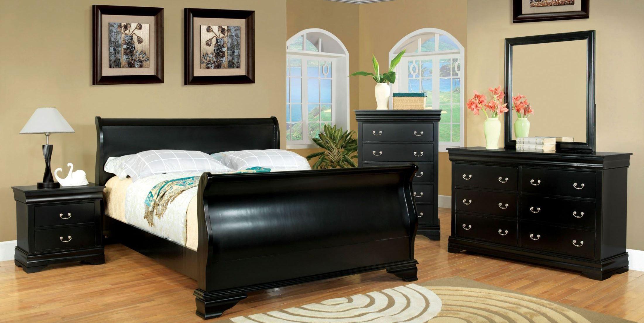 laurelle black sleigh bedroom set from furniture of madera ebony black sleigh bedroom set 545 52 60 62