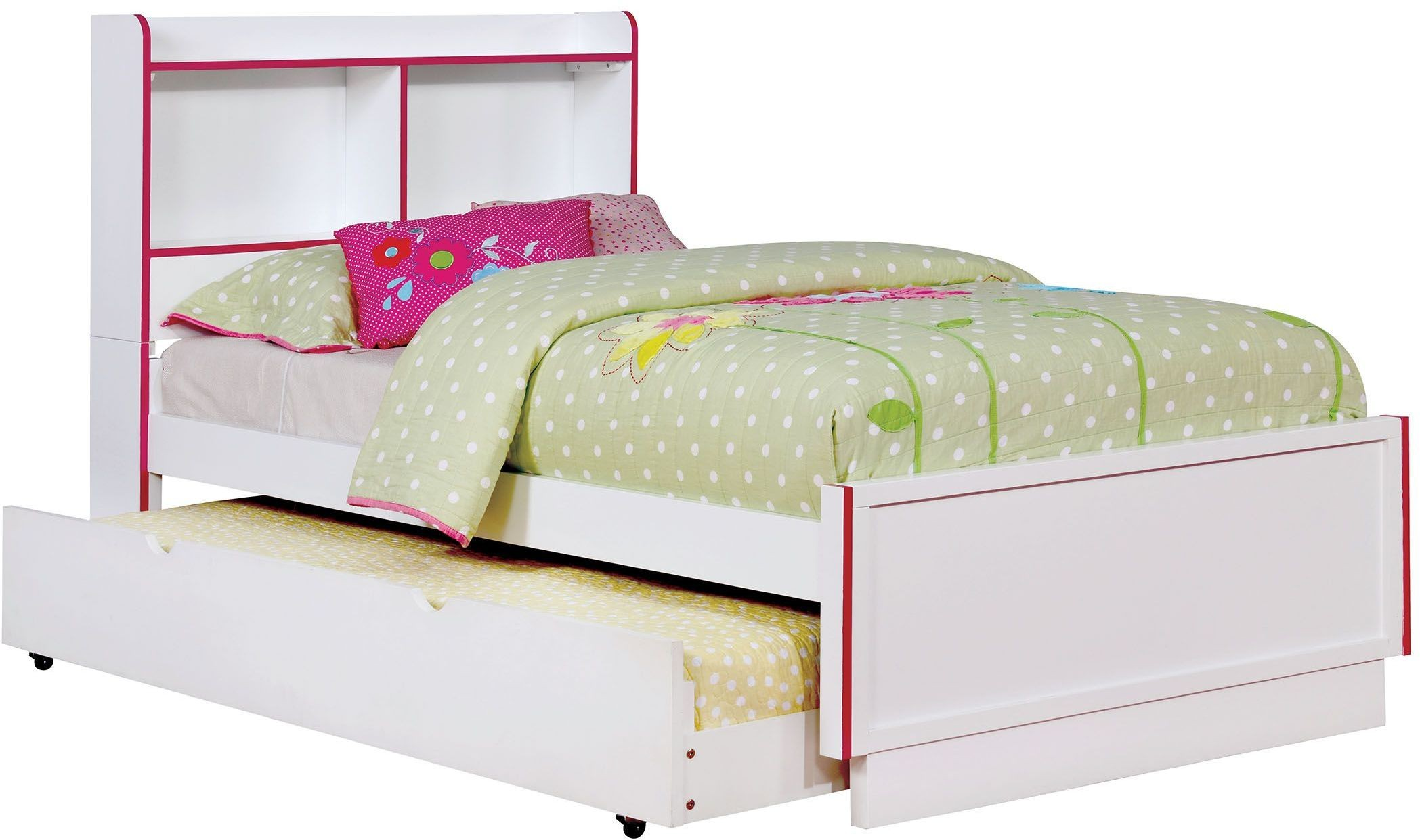 Bobbi Pink and White Twin Panel Bed CM7852PK T BED