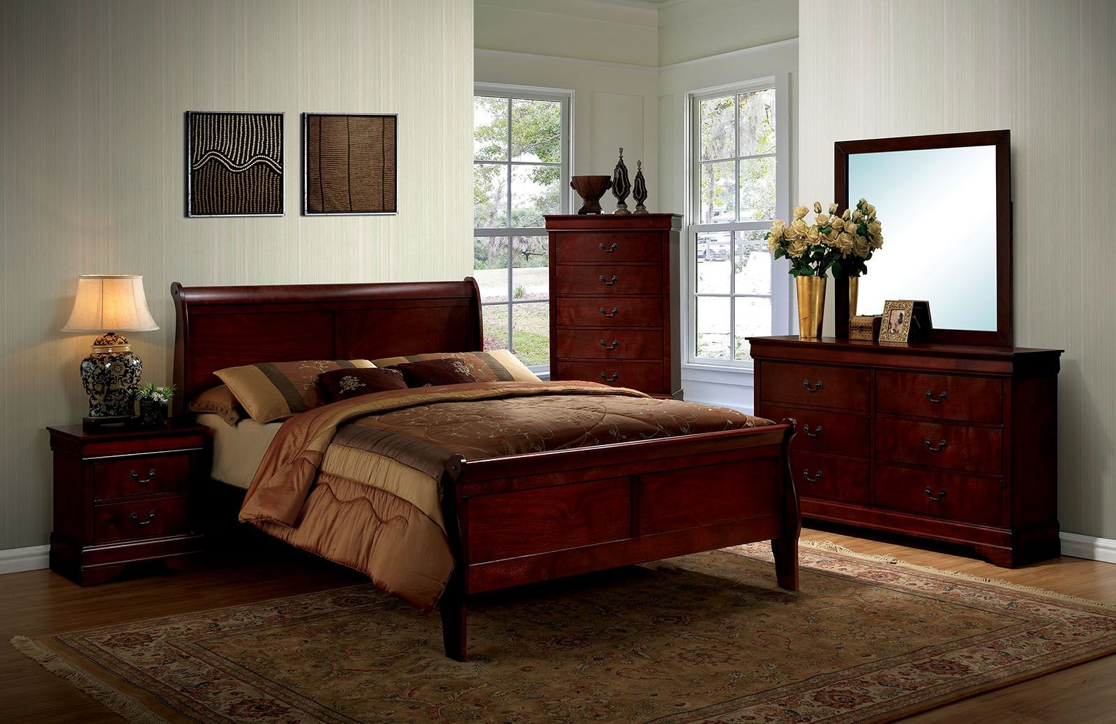 Louis Philippe III Cherry Panel Bedroom Set CM7866CH Q Furniture Of America