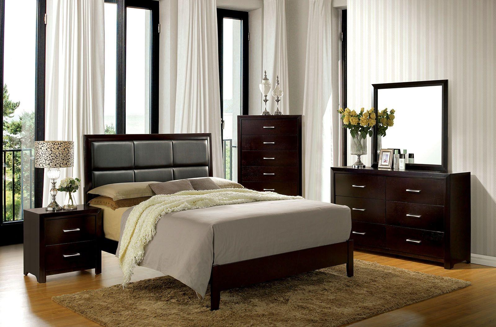 janine espresso youth upholstered platform bedroom set cm7868f furniture of america. Black Bedroom Furniture Sets. Home Design Ideas
