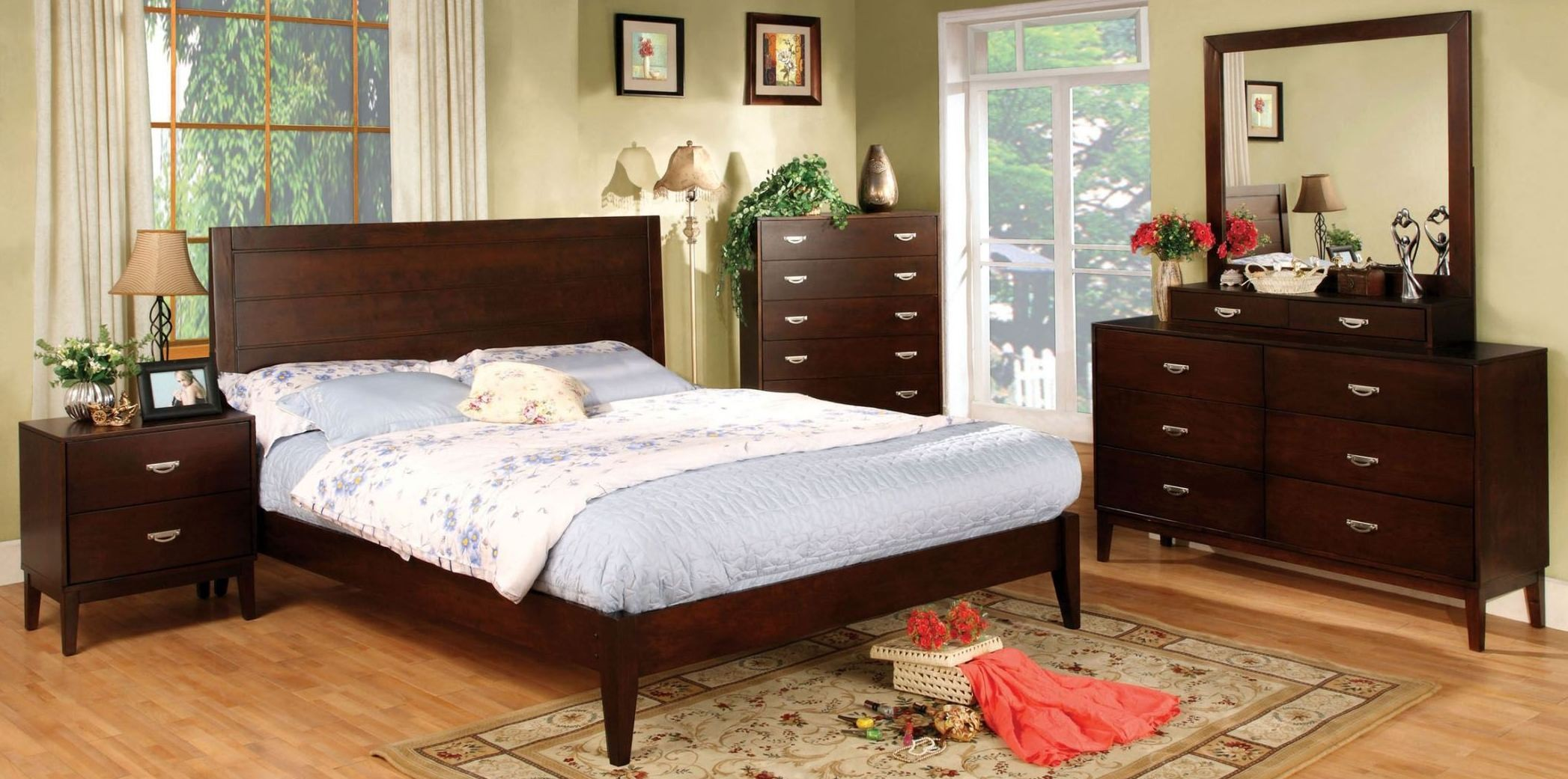 Crystal lake brown cherry platform bedroom set from furniture of america cm7910q bed coleman Lake home bedroom furniture