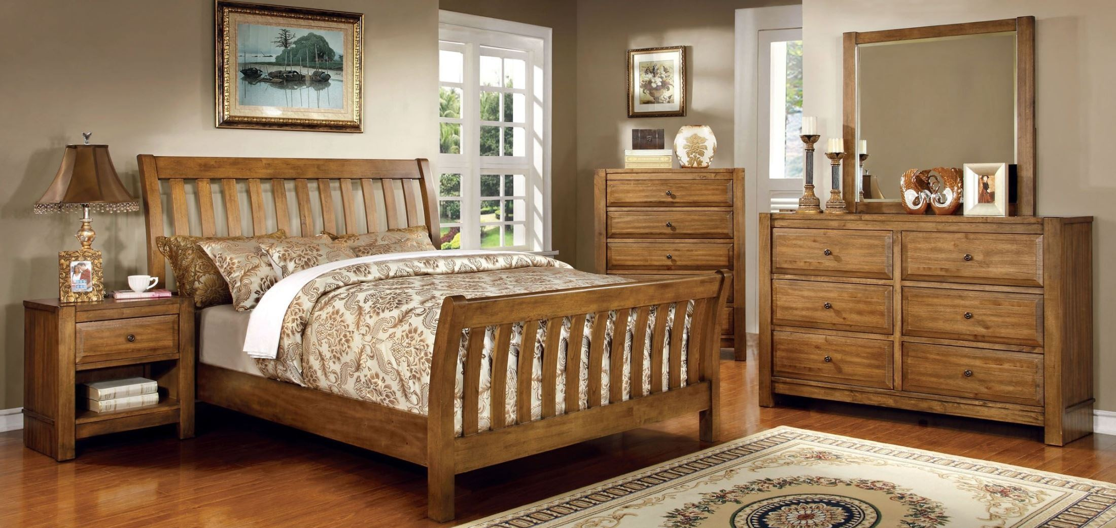 Conrad Rustic Oak Sleigh Bedroom Set From Furniture Of America Cm7970q Bed Coleman Furniture