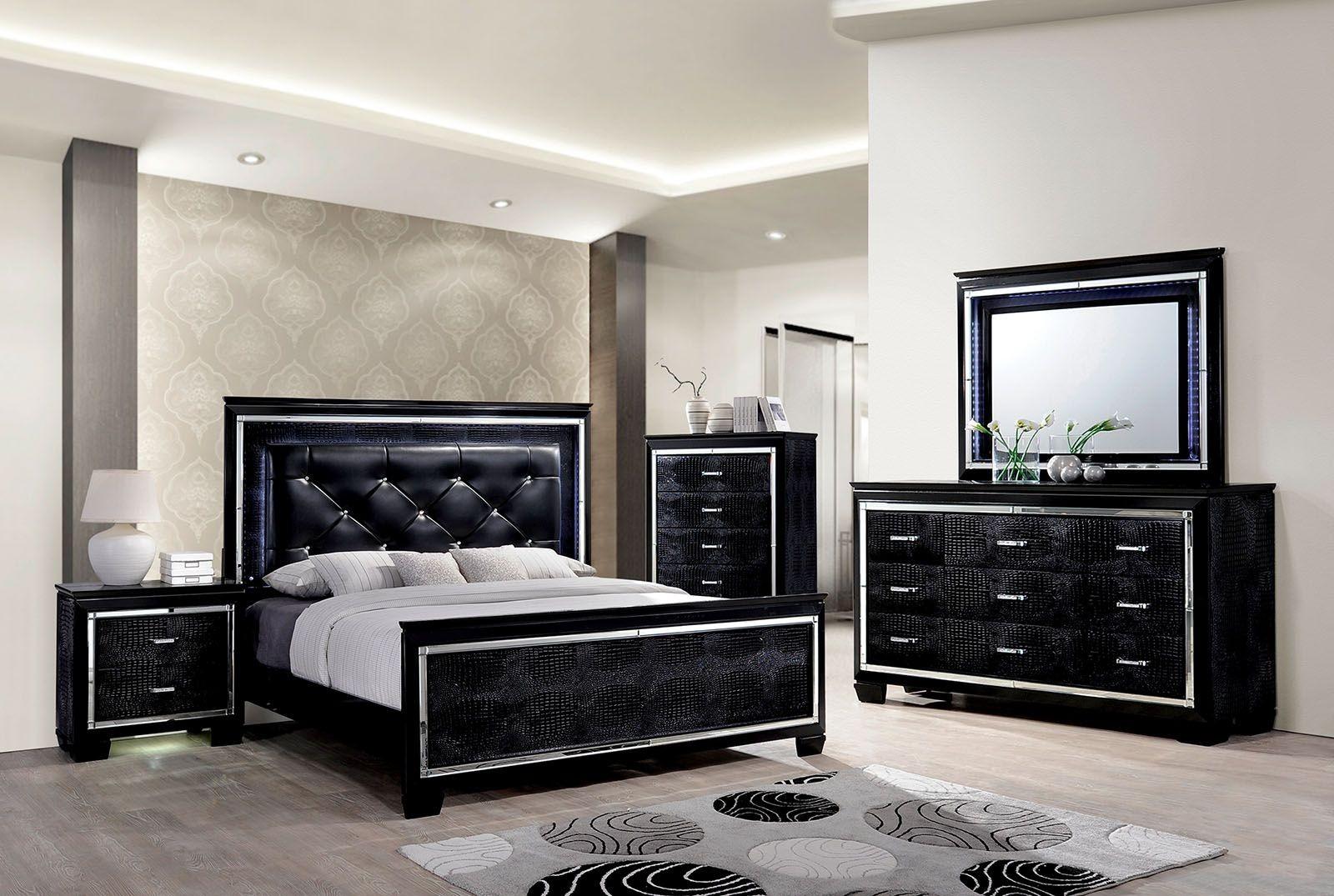 bellanova black upholstered panel bedroom set cm7979bk q furniture of america. Black Bedroom Furniture Sets. Home Design Ideas