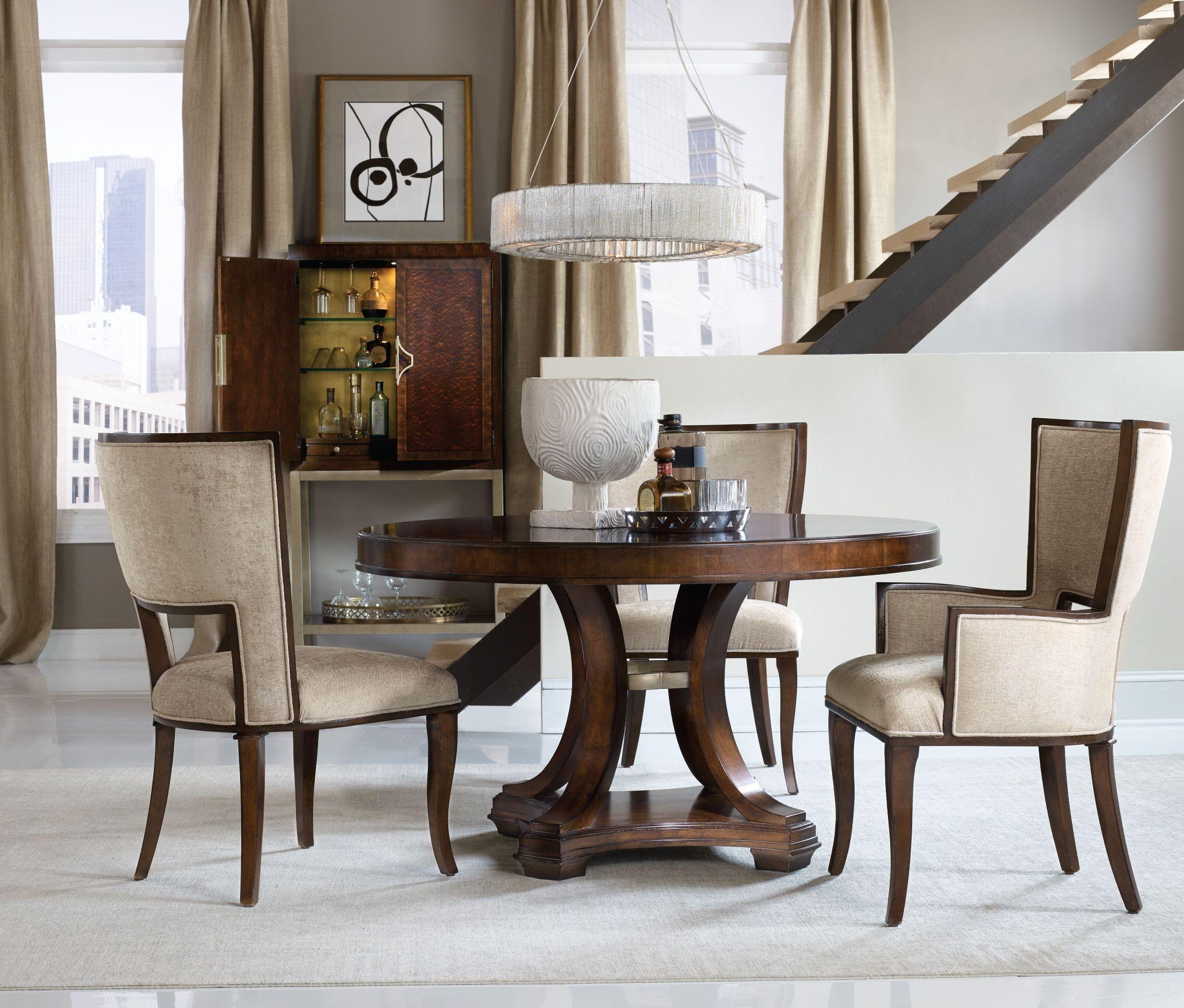 skyline brown round dining room set 5336 75203 hooker furniture. Black Bedroom Furniture Sets. Home Design Ideas