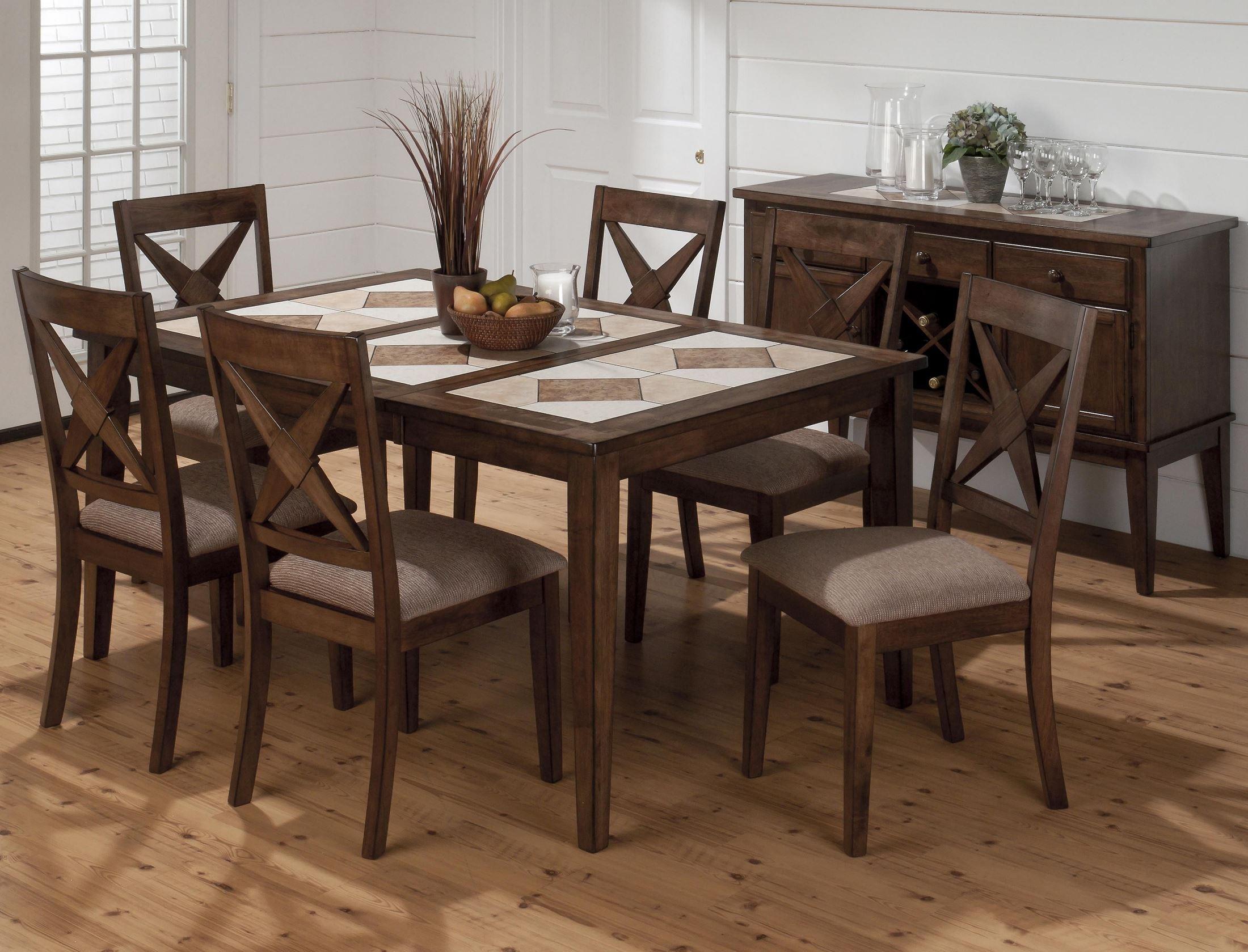 Tucson ceramic tile extendable dining room set jofran