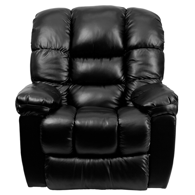 New era black leather chaise rocker recliner from renegade for Black leather chaise sale