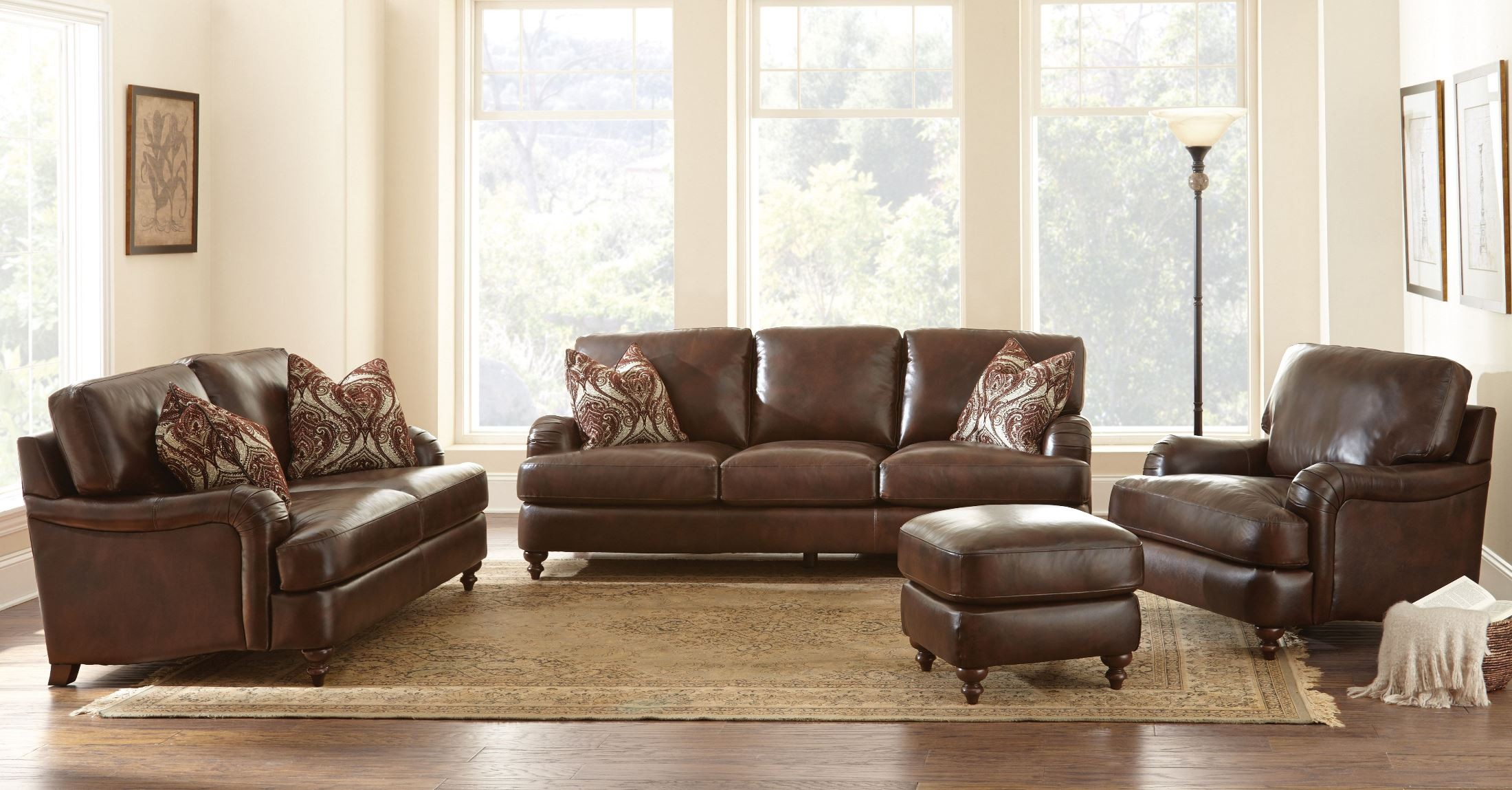Charles leather living room set cr900s steve silver for Wg r living room sets