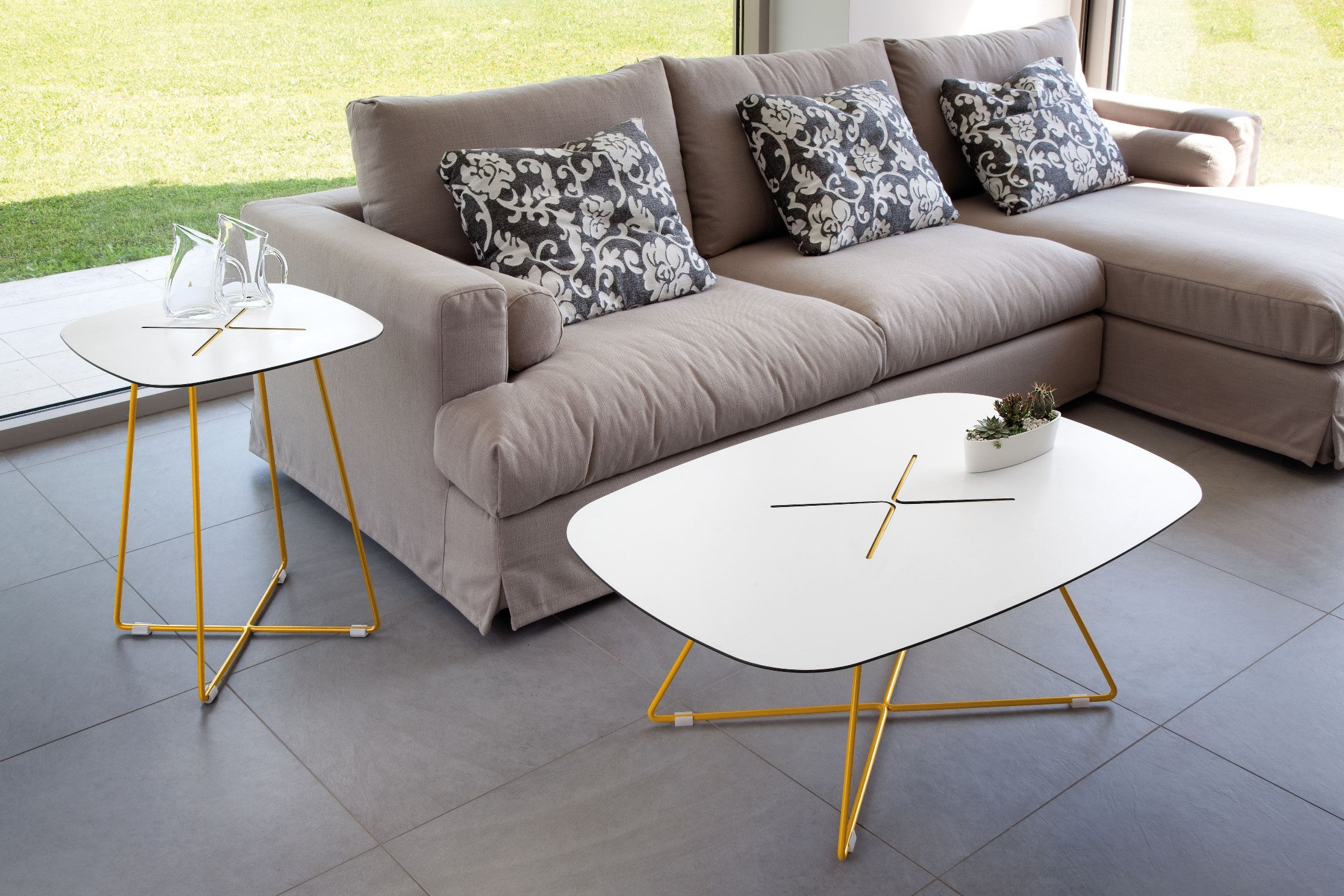 Cross Mustard Rising Lacquered Steel Rectangular Coffee Table From Domitalia Cross