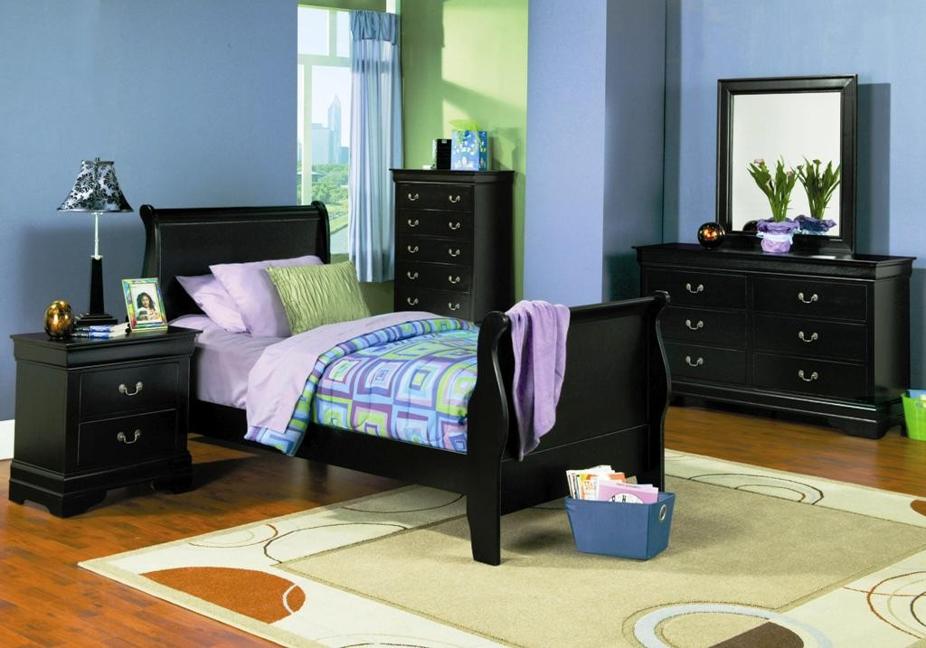 Louis Philippe Black Youth Sleigh Bedroom Set From Coaster 201071T Colema