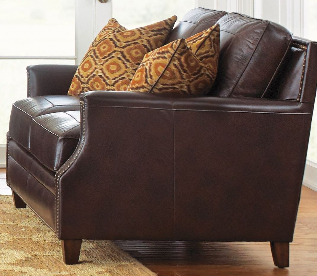 Caldwell Leather Loveseat With 2 Accent Pillows From Steve