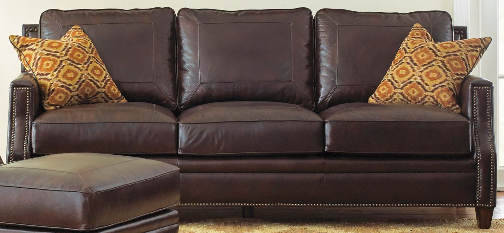 Caldwell Leather Sofa With 2 Accent Pillows From Steve