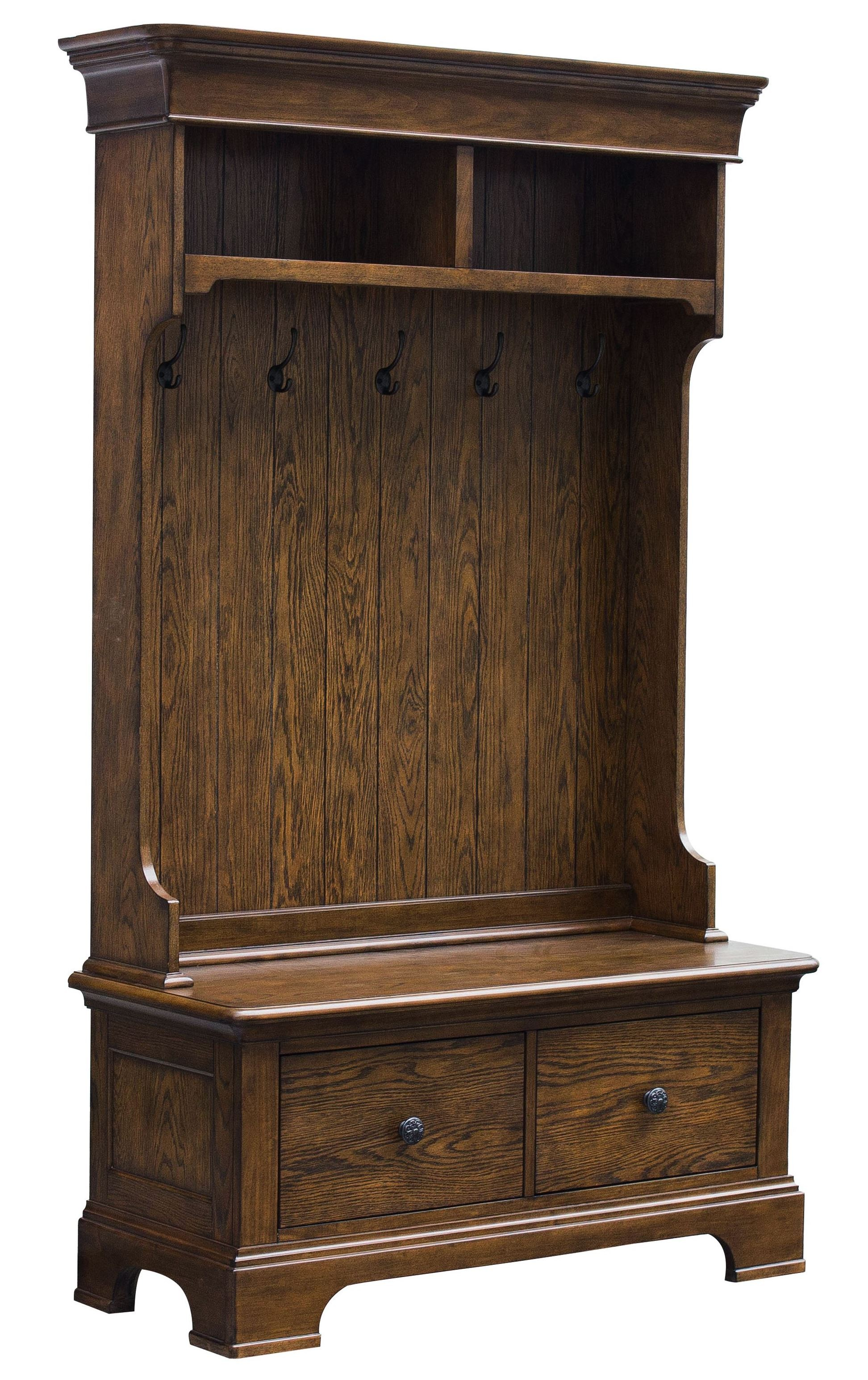 Oak Hall Tree with Storage Bench, D046-109-01, Pulaski