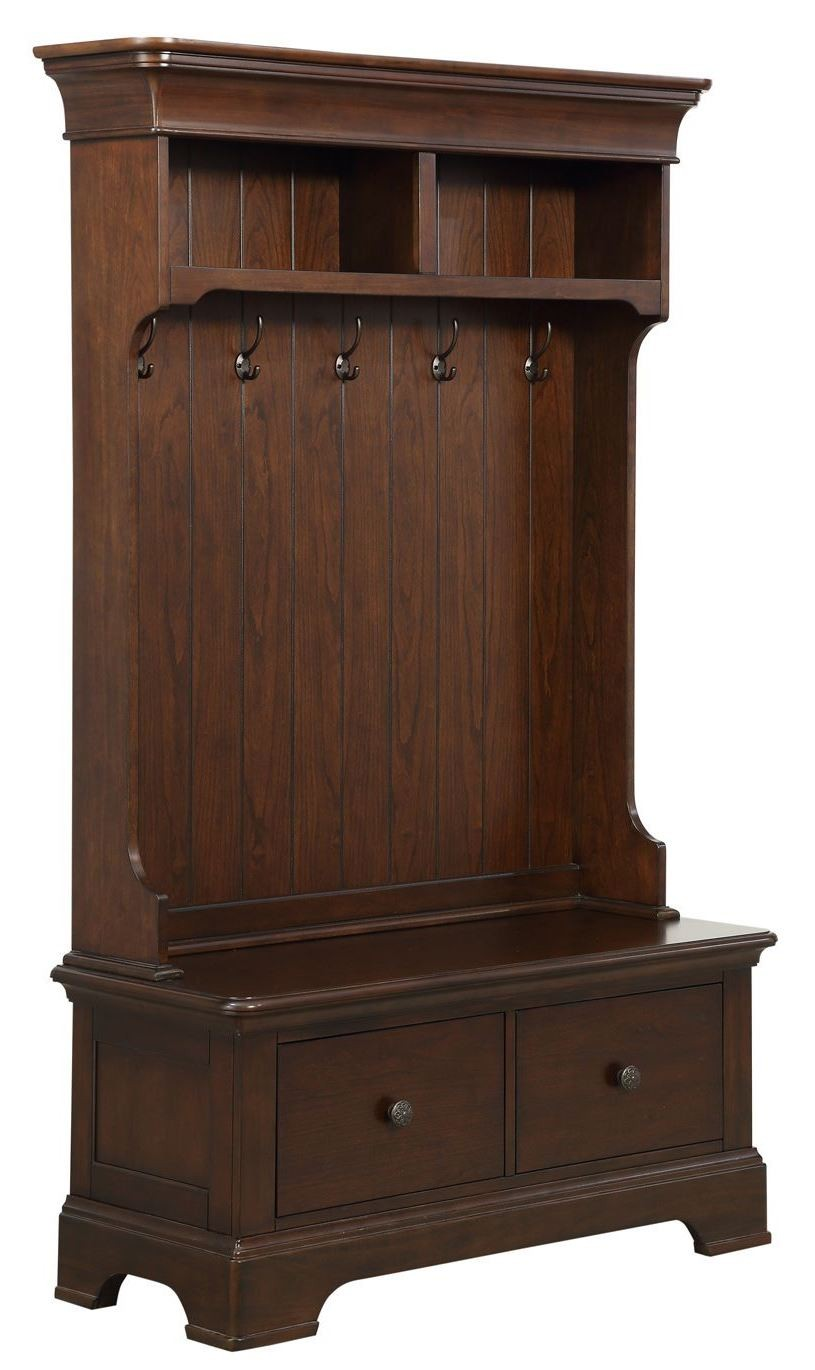 cherry hall tree with storage bench d046 109 02 pulaski. Black Bedroom Furniture Sets. Home Design Ideas