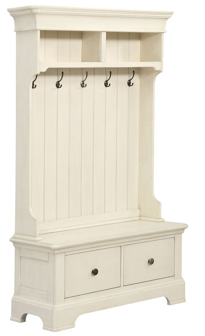 white hall tree with storage bench d046 109 03 pulaski. Black Bedroom Furniture Sets. Home Design Ideas
