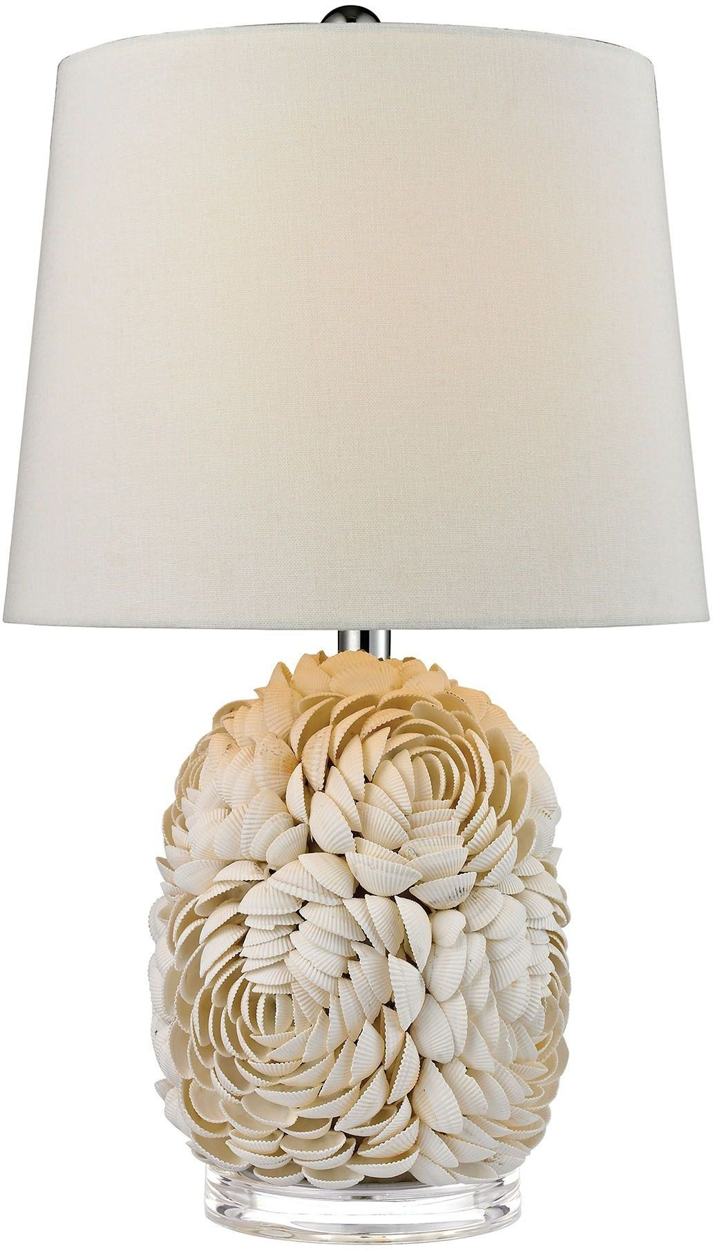 natural shell off white linen shade table lamp d2655 dimond lighting. Black Bedroom Furniture Sets. Home Design Ideas