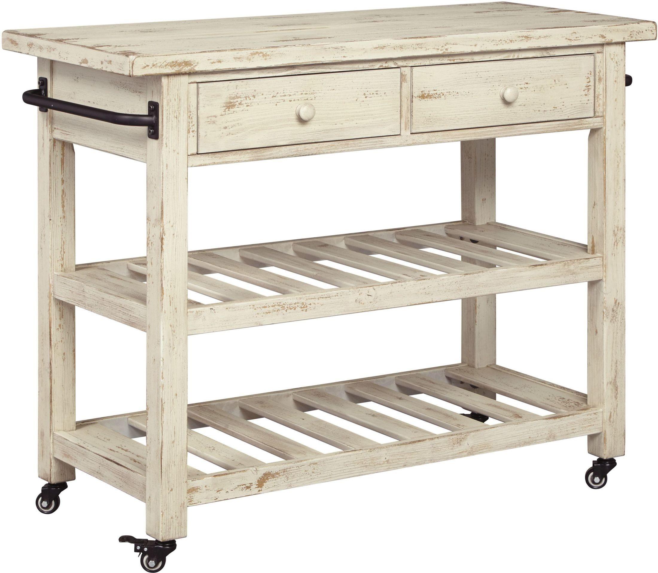 Marlijo White Kitchen Cart D300 766 Ashley