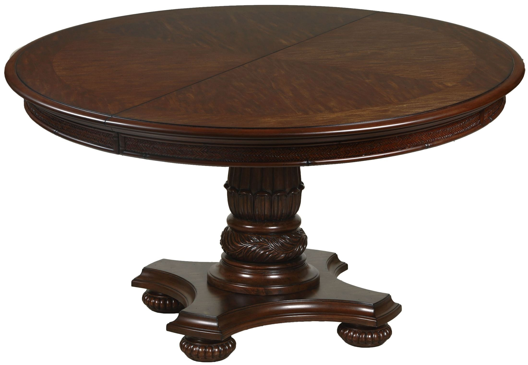 Key West Slightly Distressed Sienna Extendable Round Dining Table