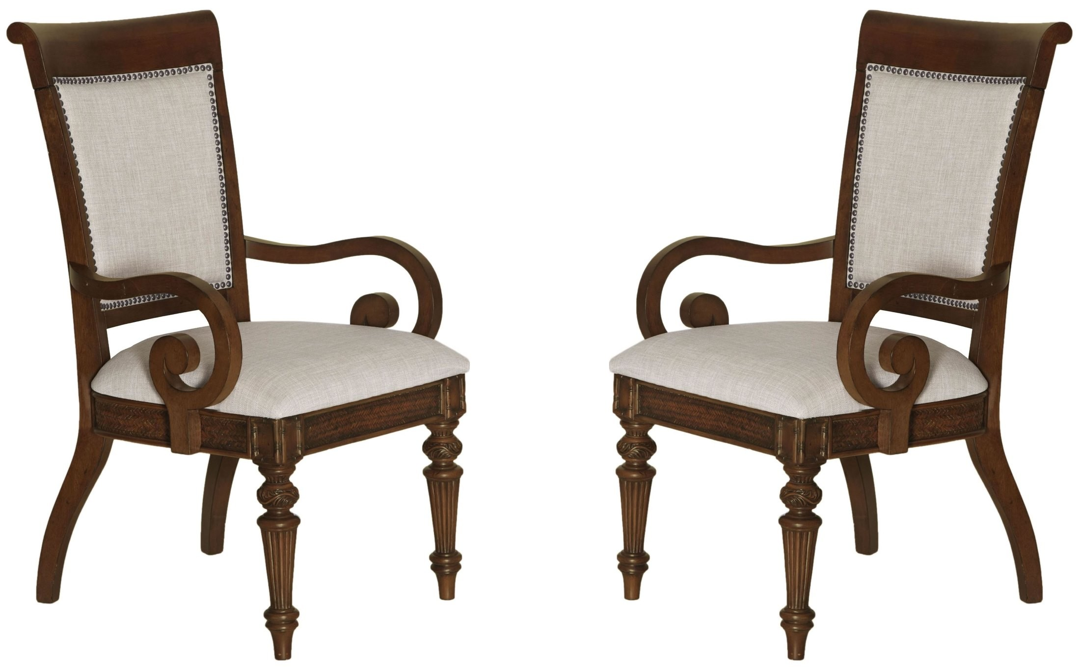 Key West Slightly Distressed Sienna Upholstered Arm Chair Set Of 2 D3069 74
