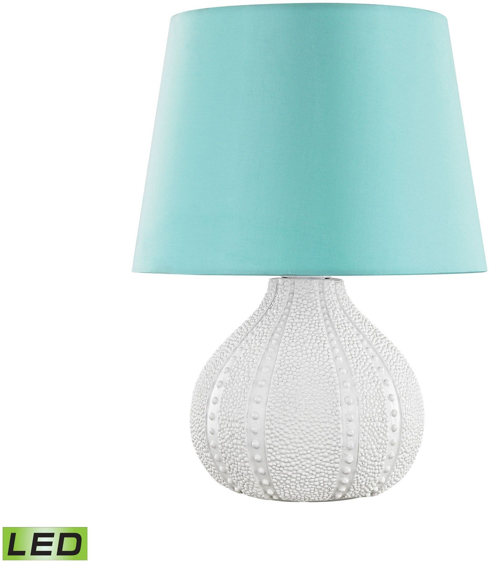 Outdoor Table Lamp Led: Aruba White And Sea Green Shade Outdoor LED Table Lamp