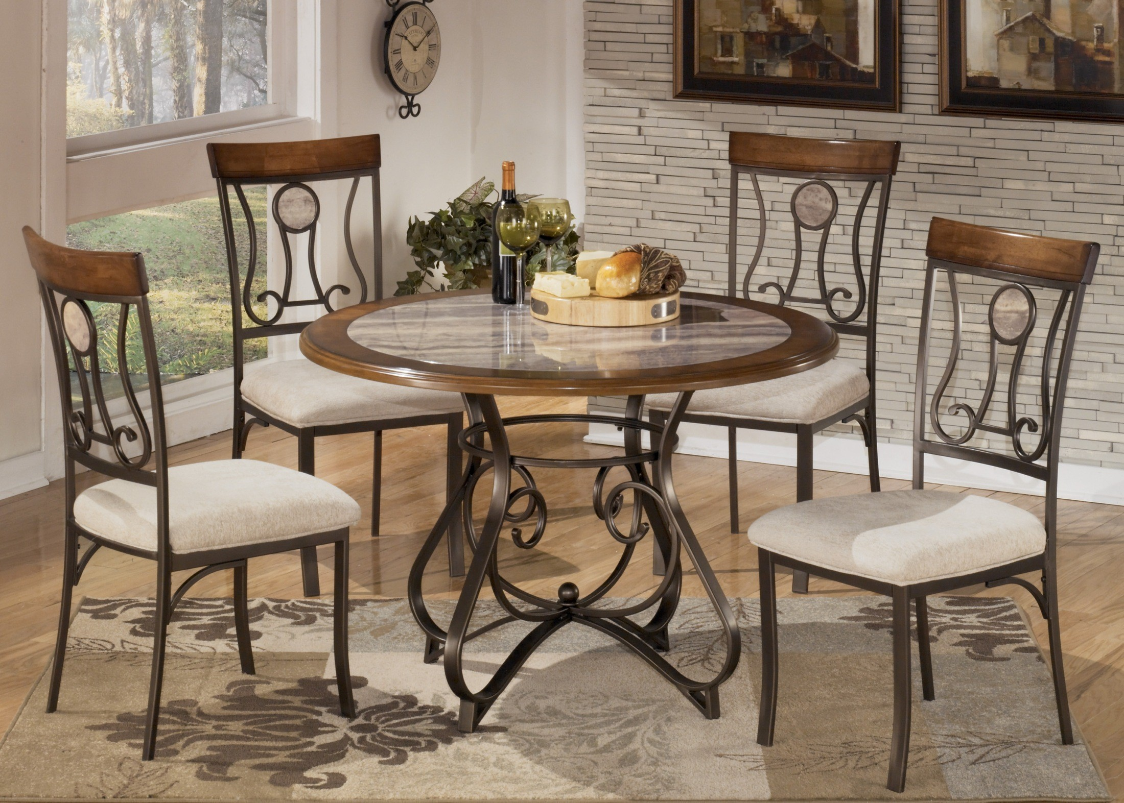 hopstand round dining room set from ashley d314 15t 15b coleman