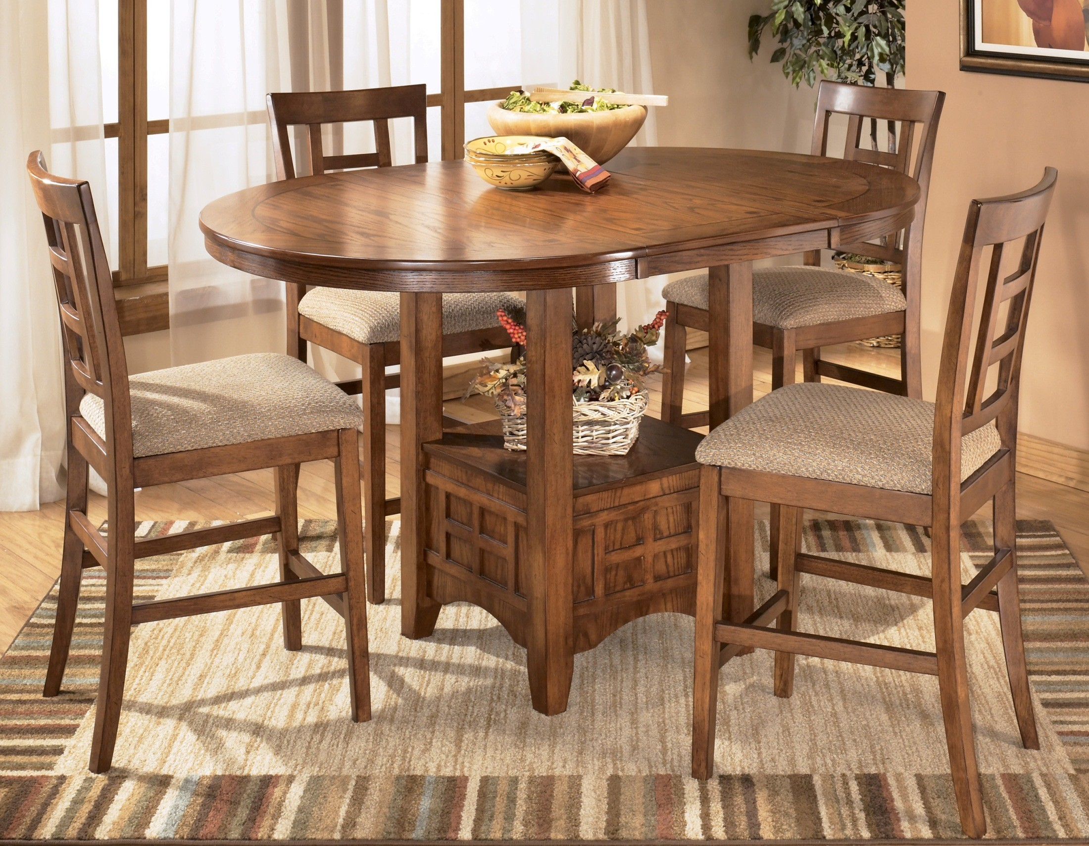 cross island oval counter height extendable dining room set from