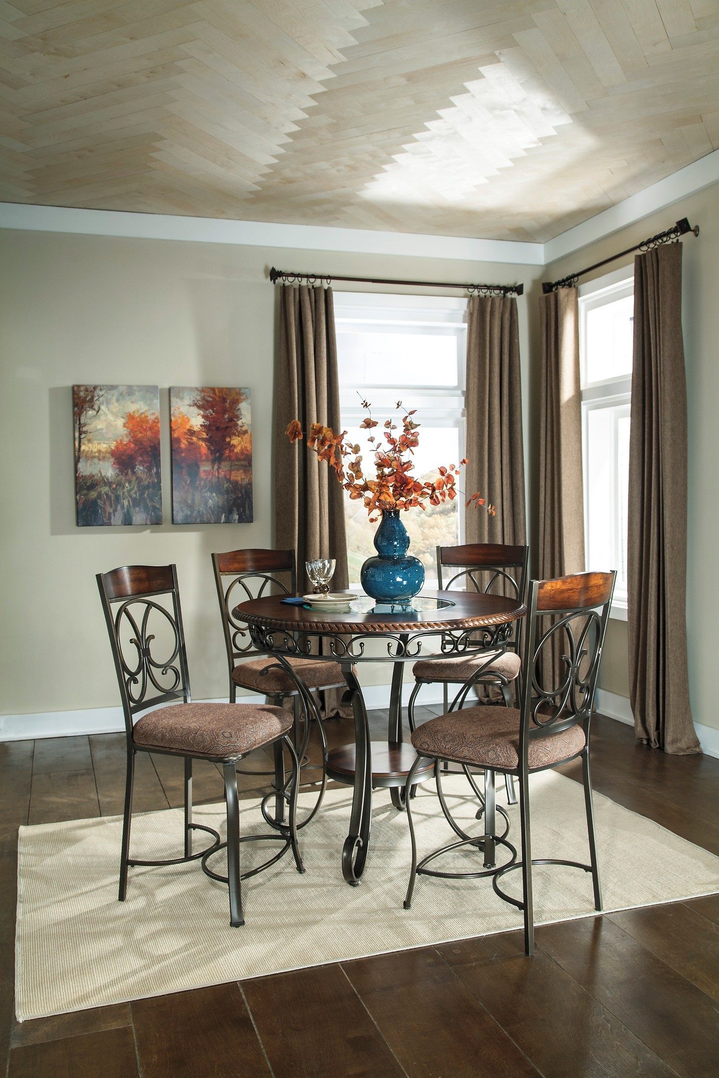 Glambrey Round Dining Room Counter Height Table Set From