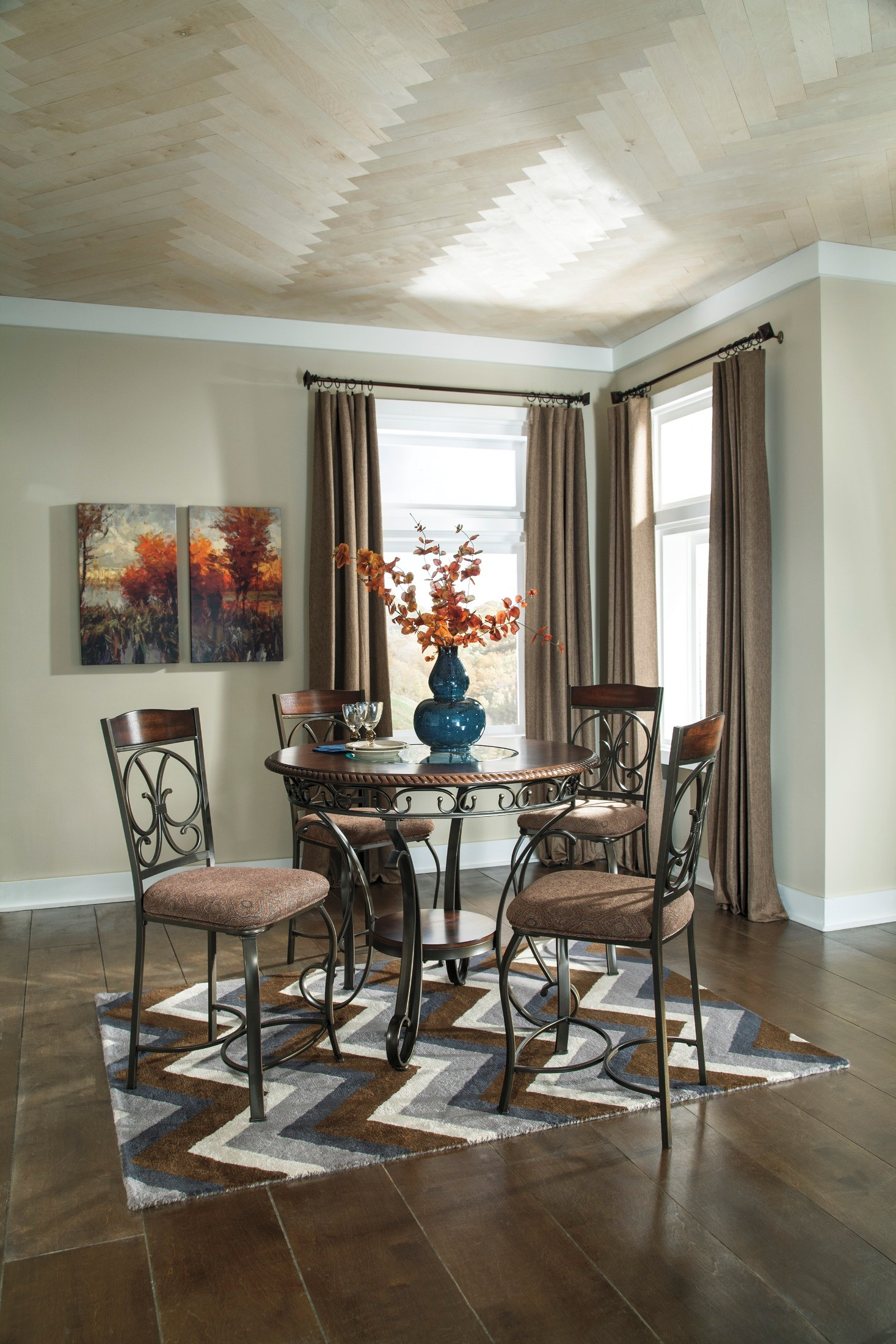 Glambrey Round Dining Room Counter Height Table Set From Ashley D329 13 C