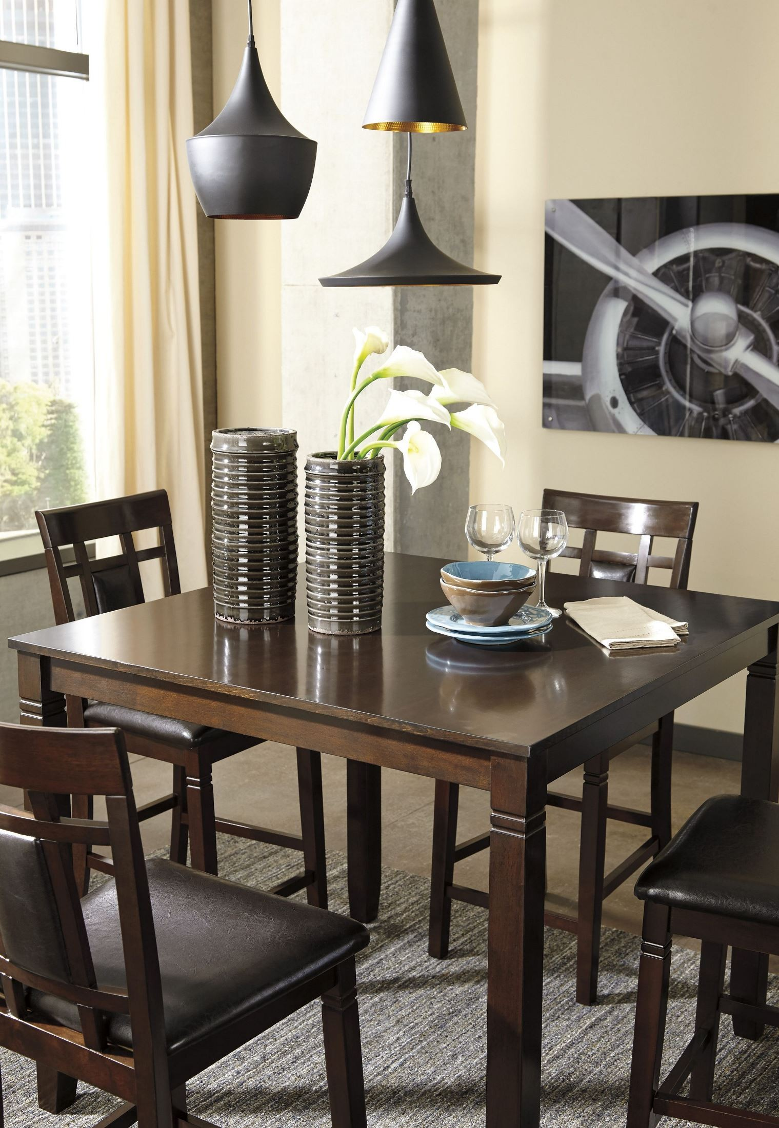 Bennox brown 5 piece counter height dining room set d384 for Brown dining room set