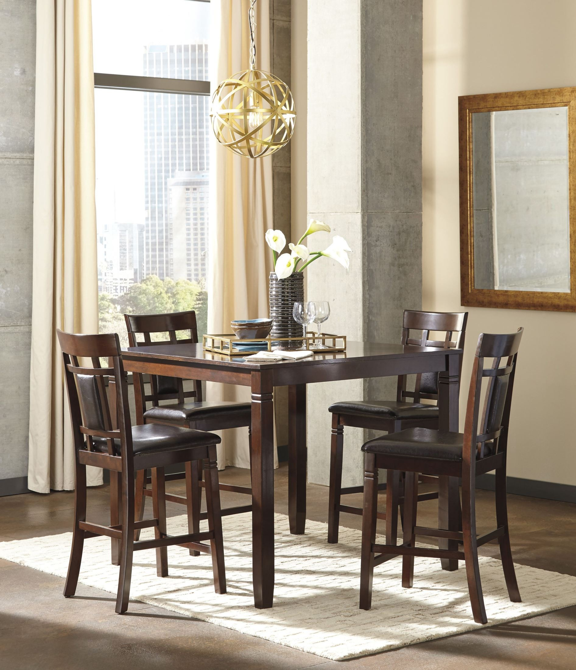 Bennox brown 5 piece counter height dining room set d384 for 5 piece dining room sets