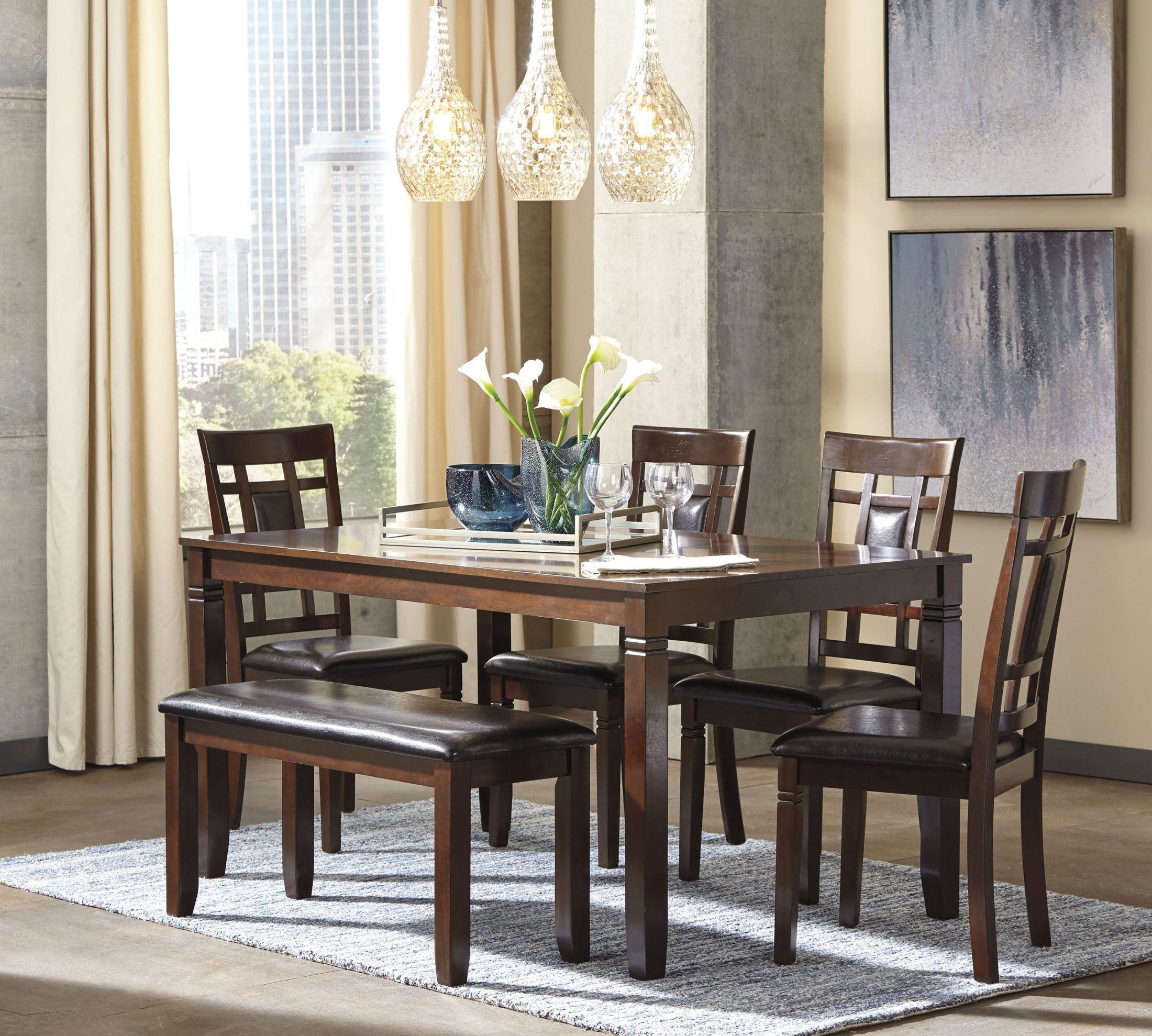 Bennox brown 6 piece rectangular dining room set d384 325 for Brown dining room set