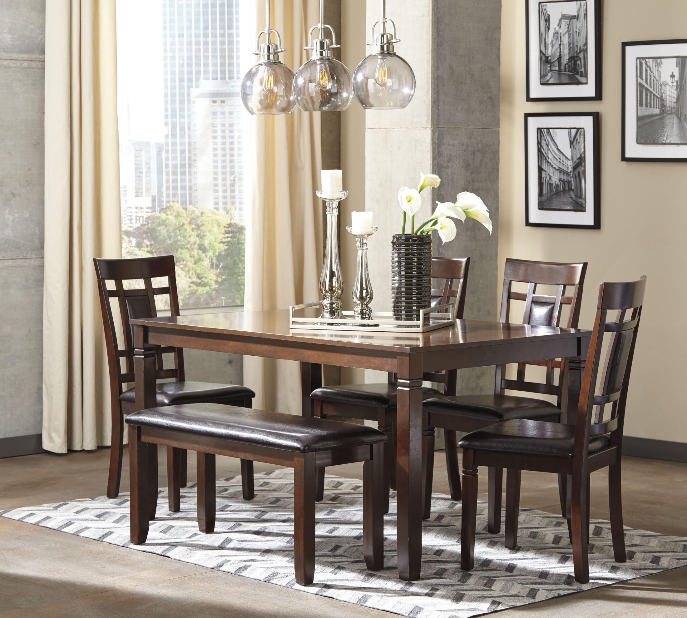 Bennox Brown 6 Piece Rectangular Dining Room
