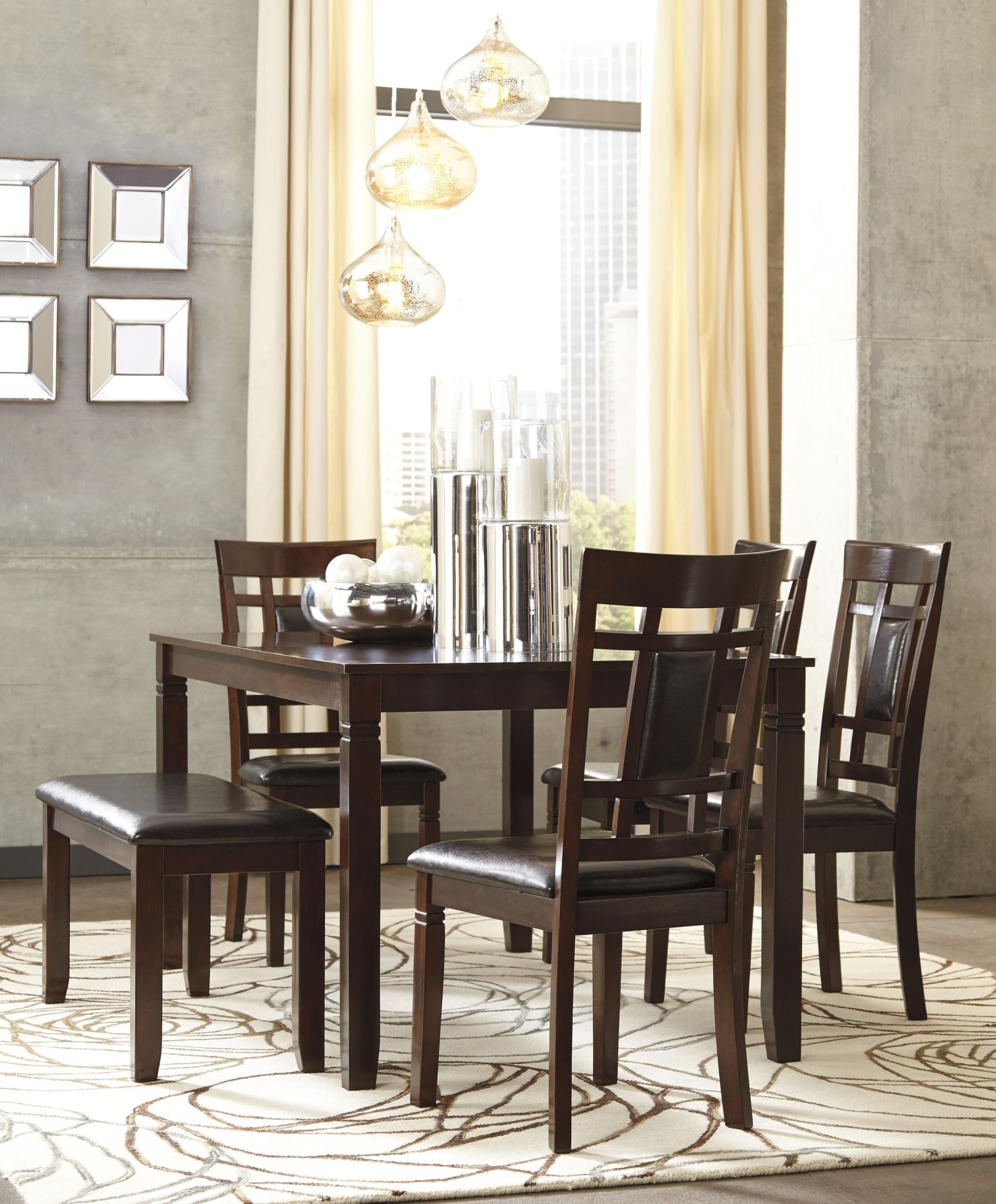 Bennox brown 6 piece rectangular dining room set d384 325 for Dining room sets 6 piece