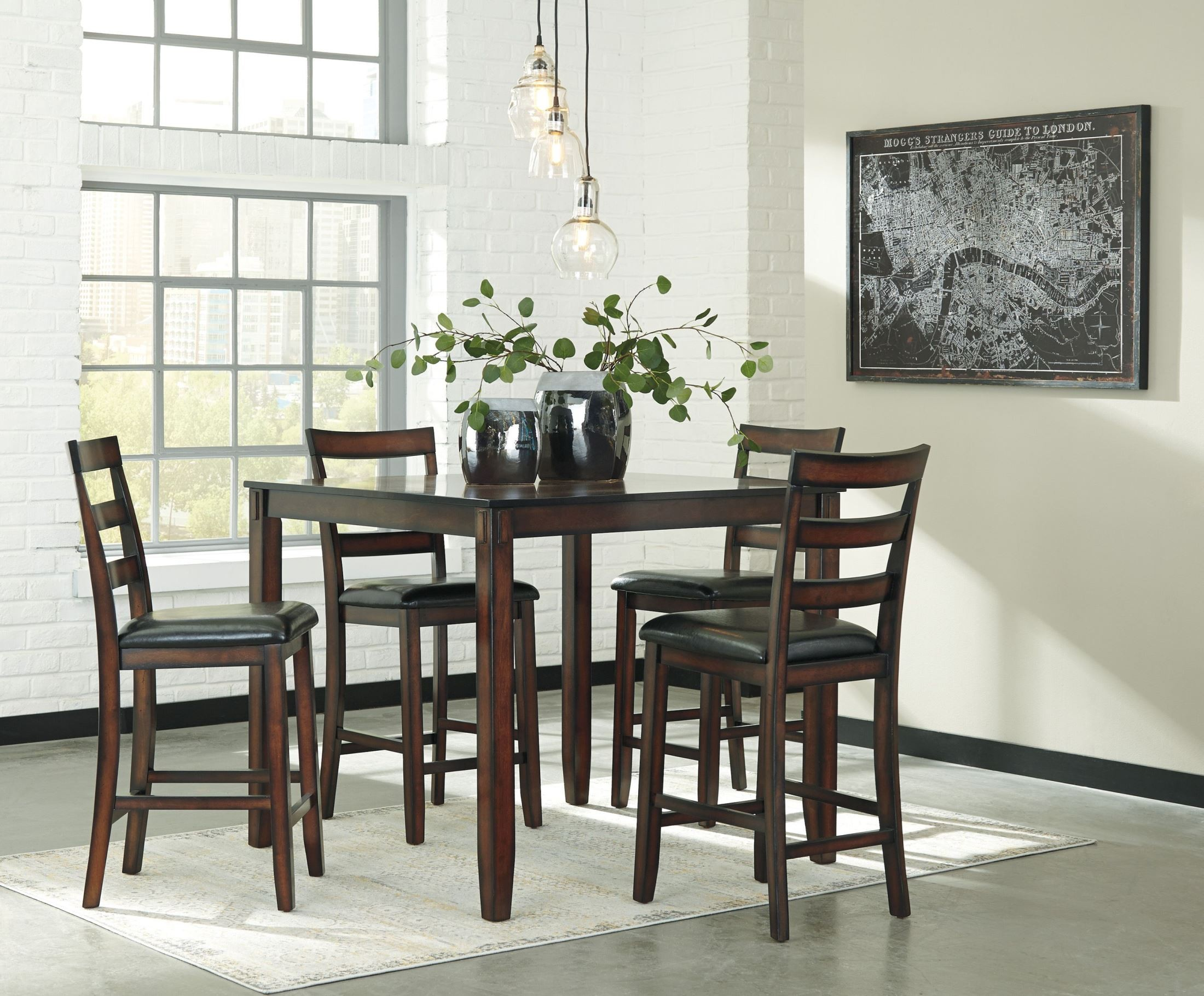 Coviar brown 5 piece counter height dining room set d385 for 5 piece dining room sets