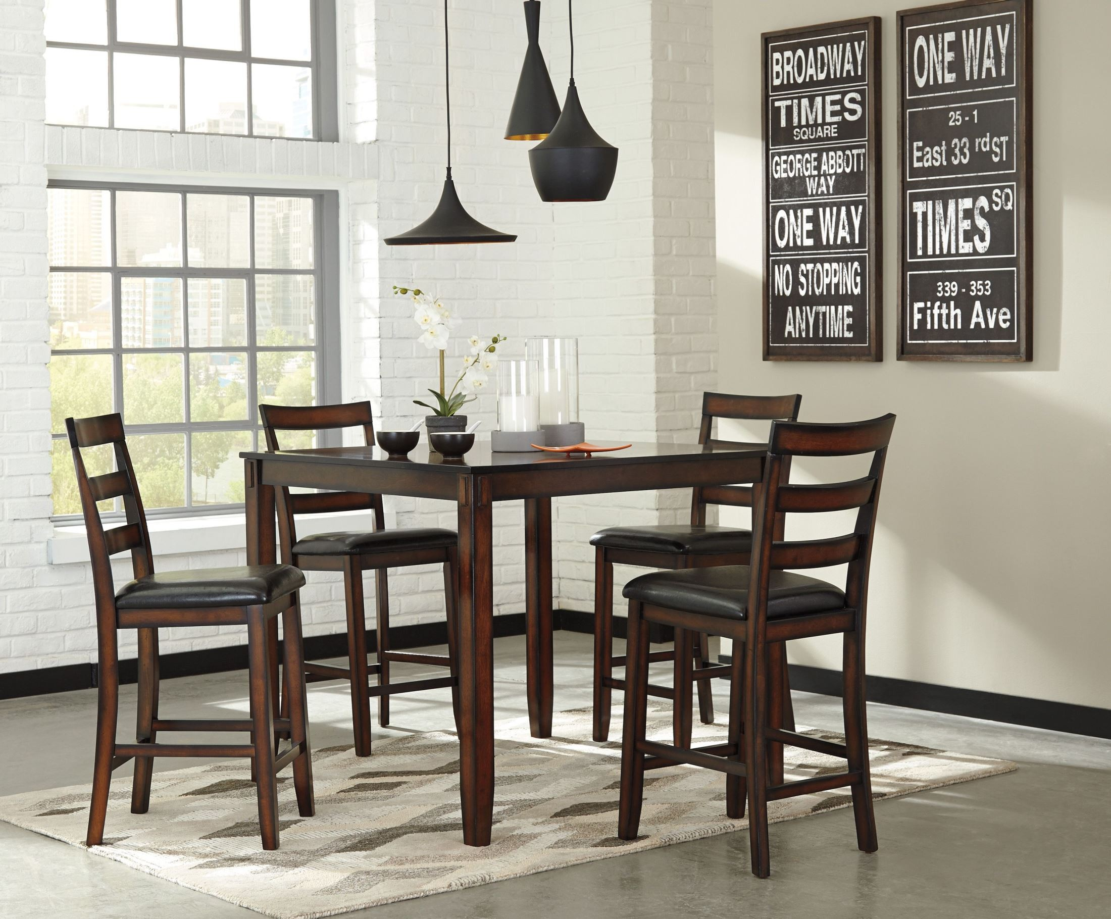 Coviar Brown 5 Piece Counter Height Dining Room Set D385