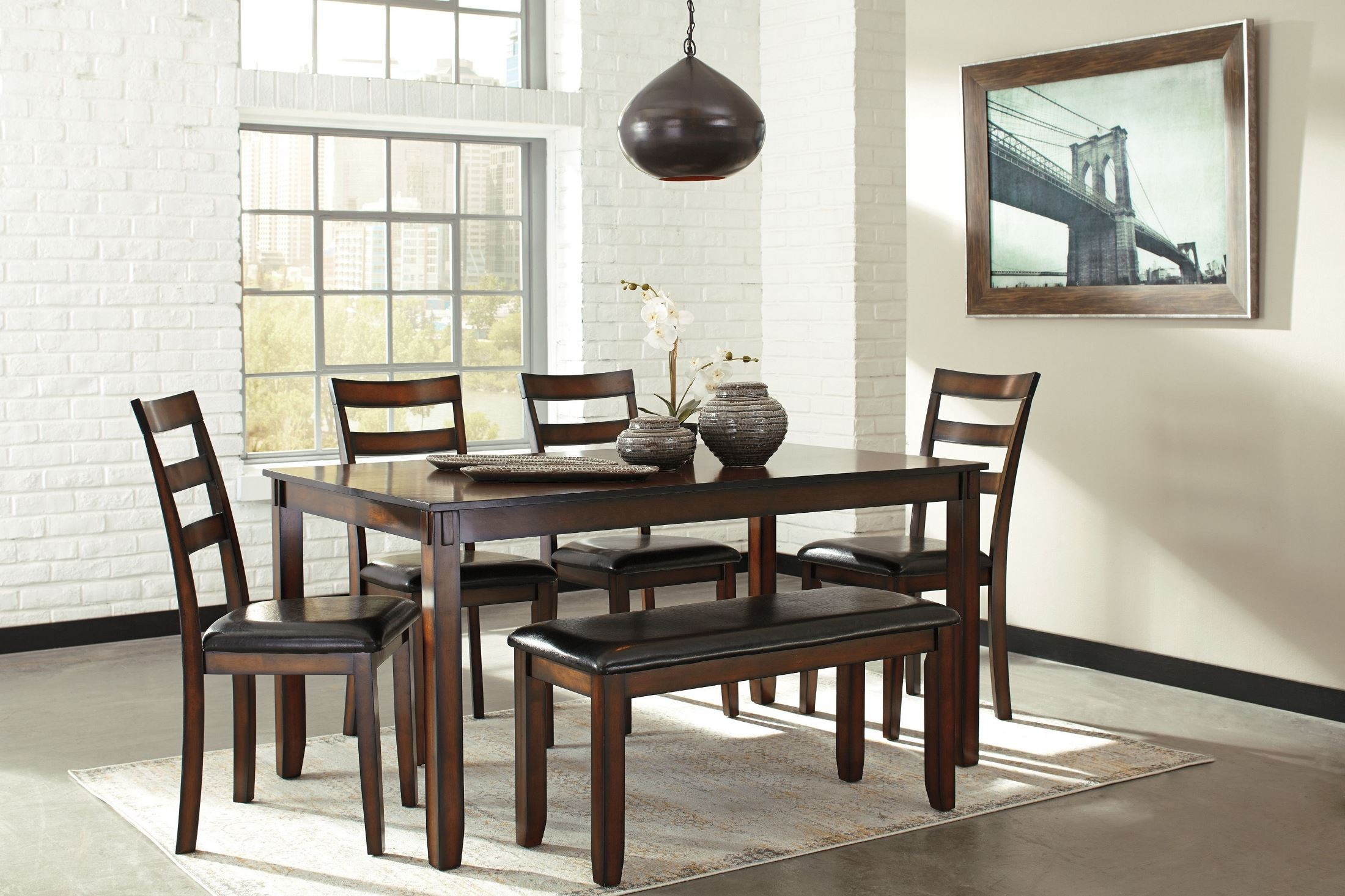 Coviar brown 6 piece dining room set d385 325 ashley for Dining room sets 6 piece