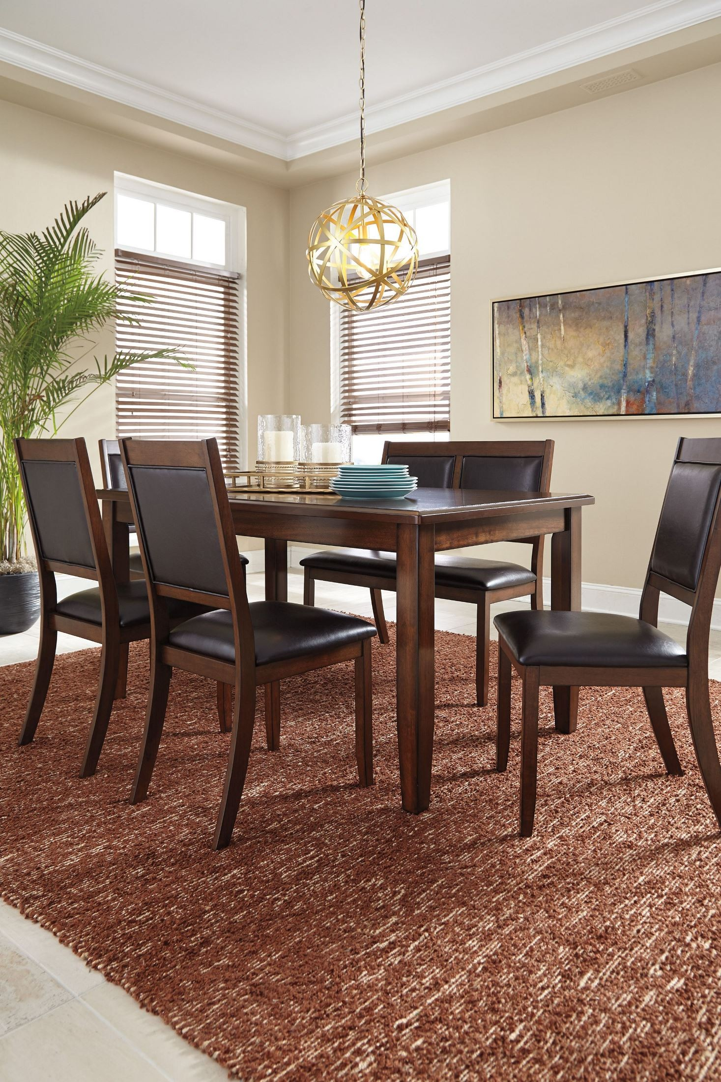 Meredy brown 6 piece dining room set d395 325 ashley for Dining room sets 6 piece