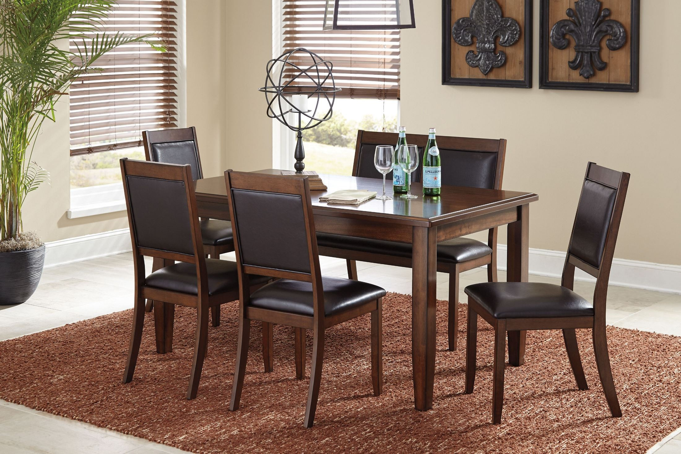 meredy brown 6 piece dining room set d395 325 ashley