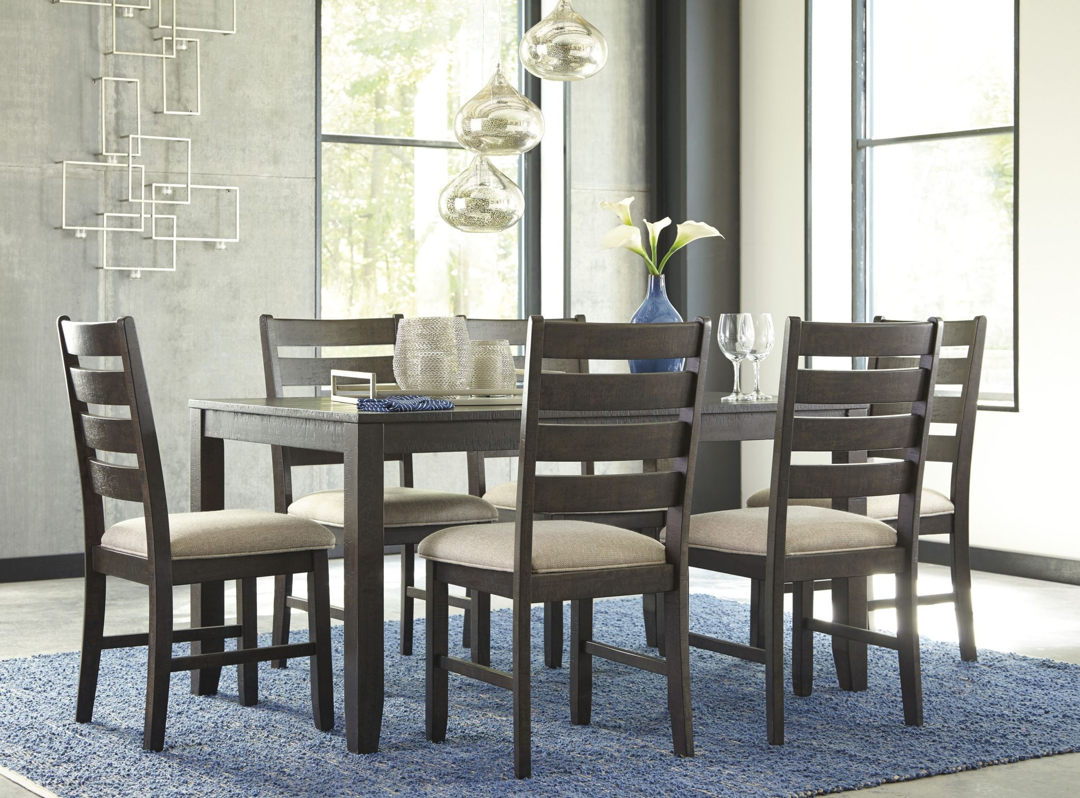 Rokane brown 7 piece dining room set d397 425 ashley for 7 piece dining room set